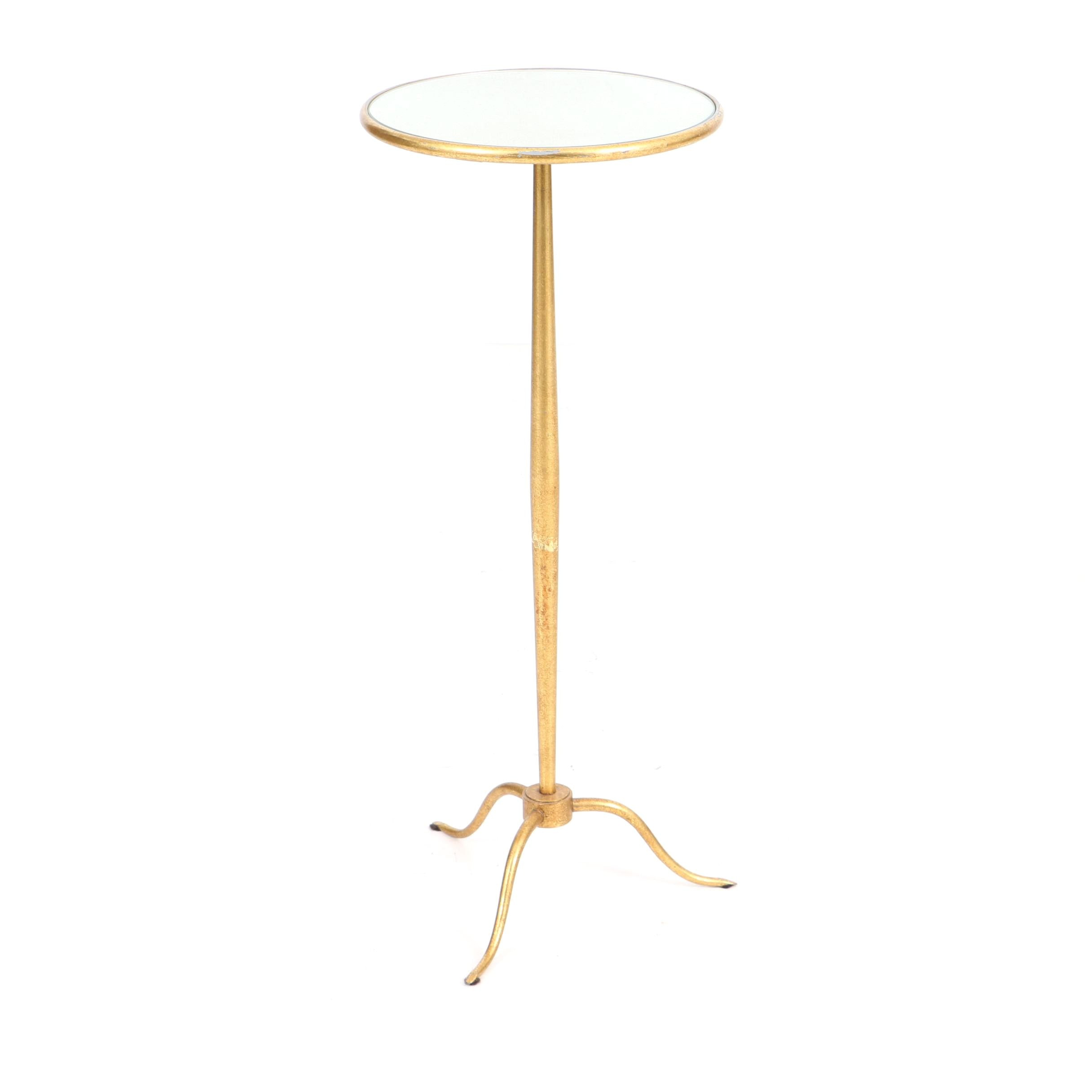Gold Metal Accent Table with Mirrored Top