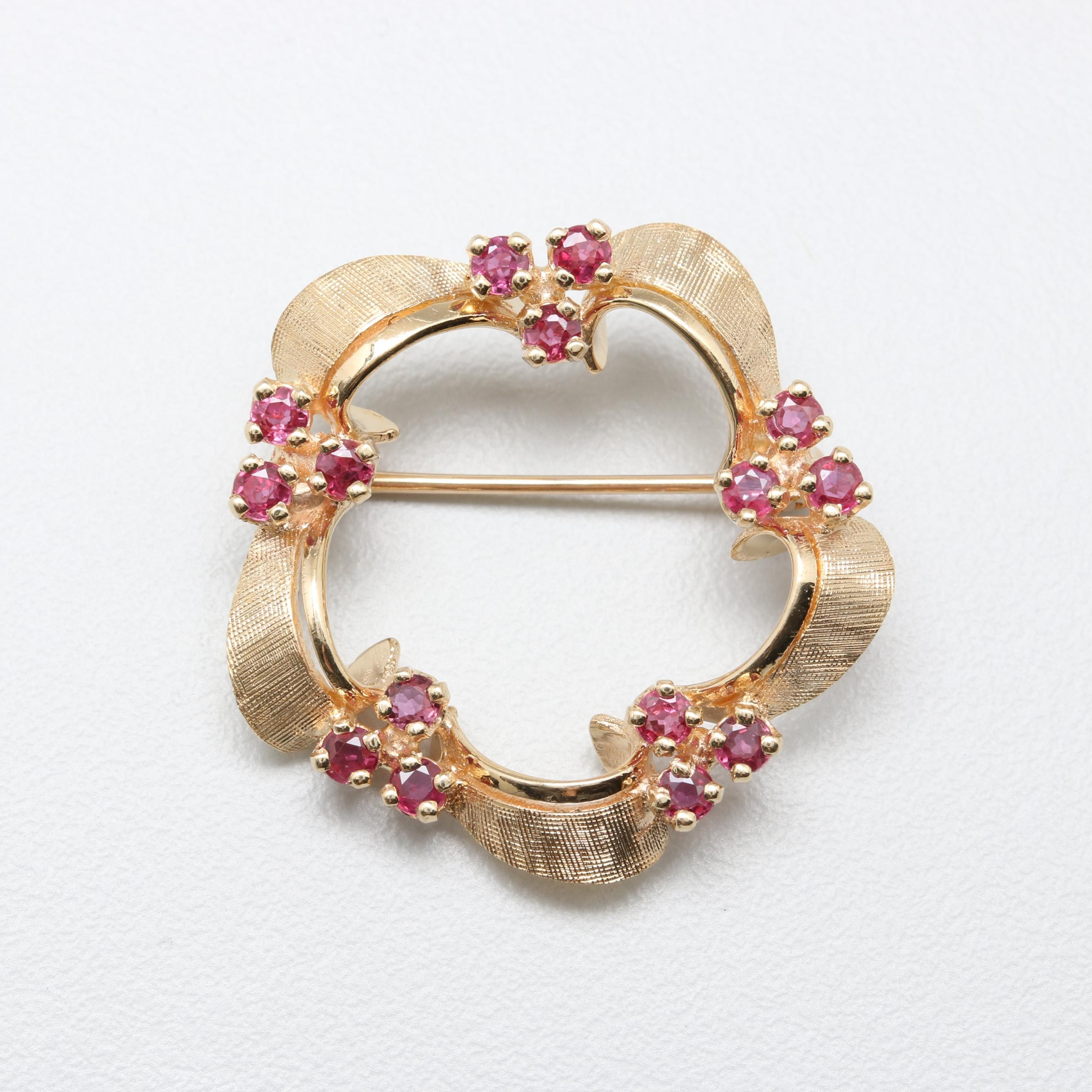 14K Yellow Gold Ruby Brooch