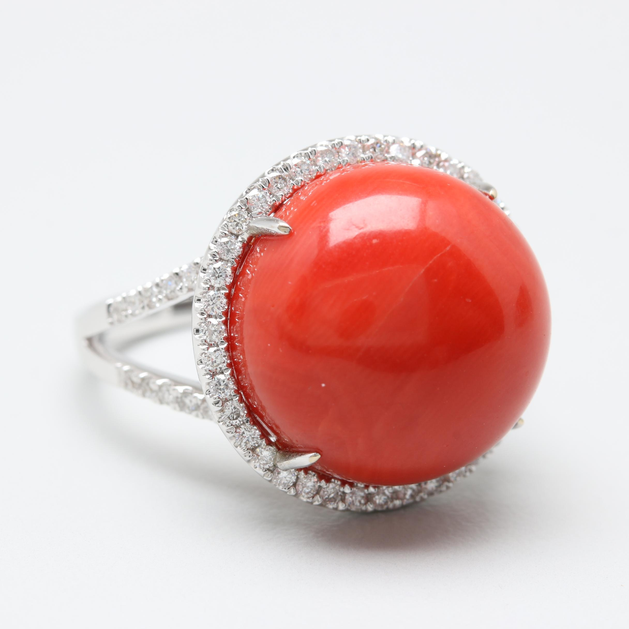 18K White Gold Coral and Diamond Ring