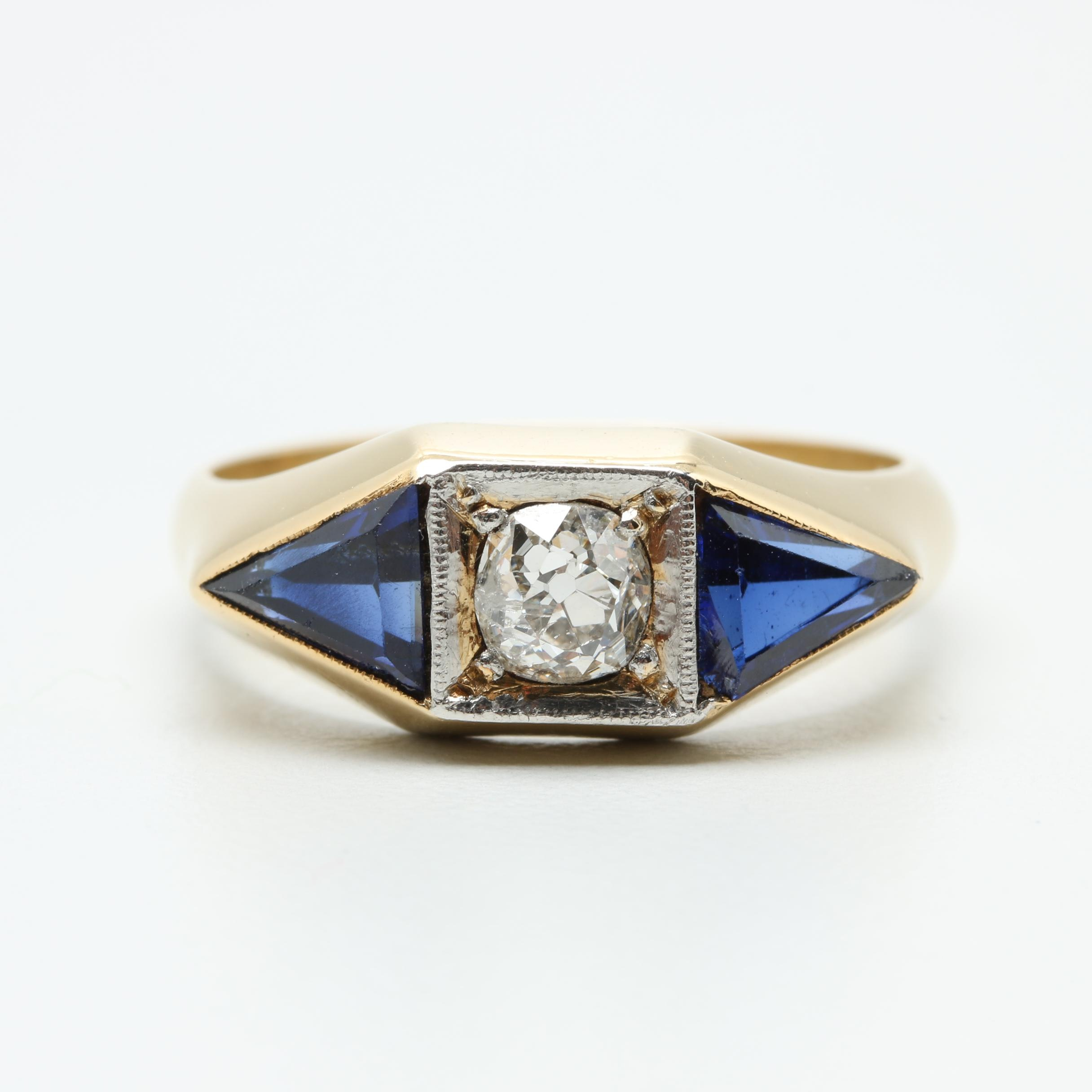 18K Yellow Gold Diamond and Synthetic Sapphire Ring