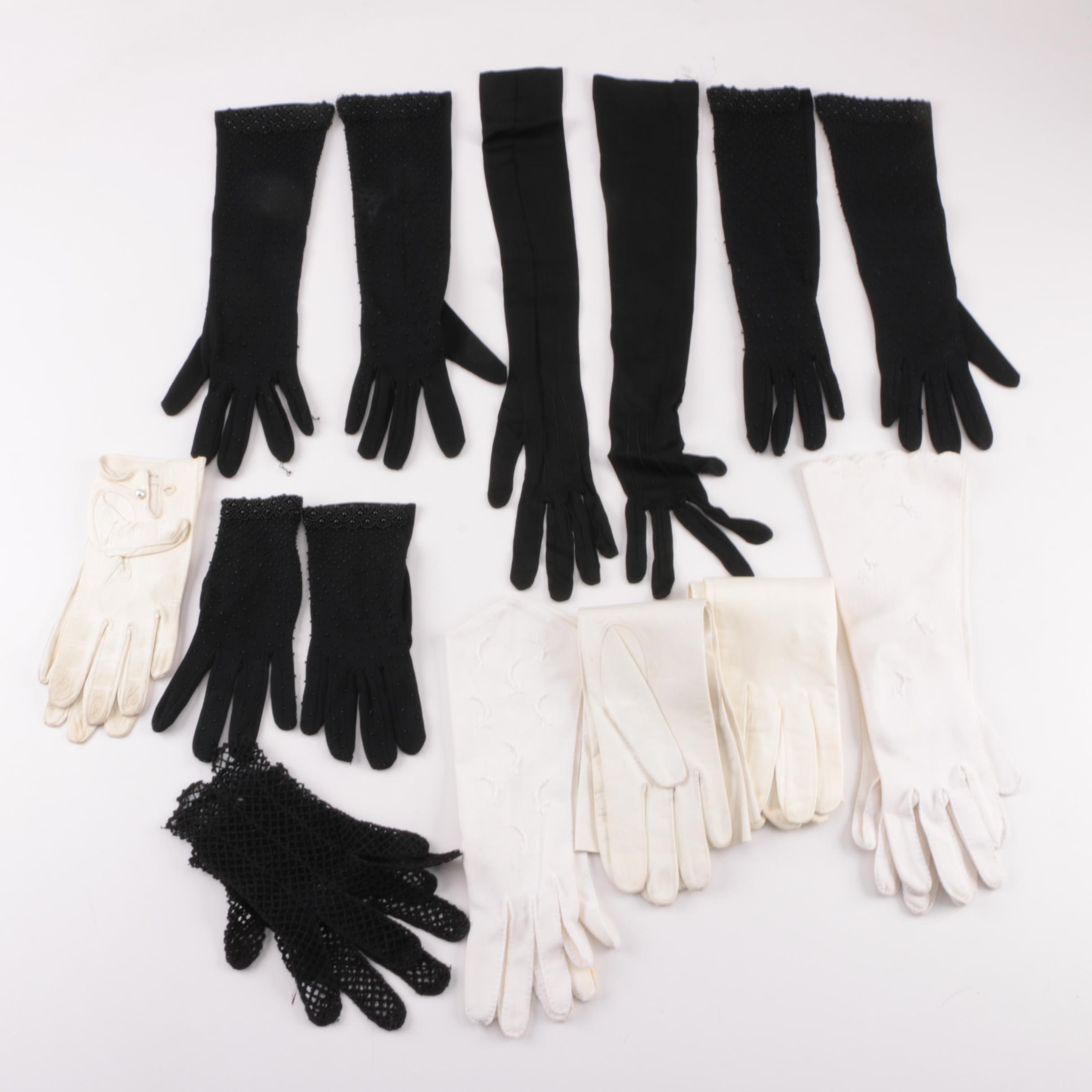 Vintage Leather and Fabric Gloves
