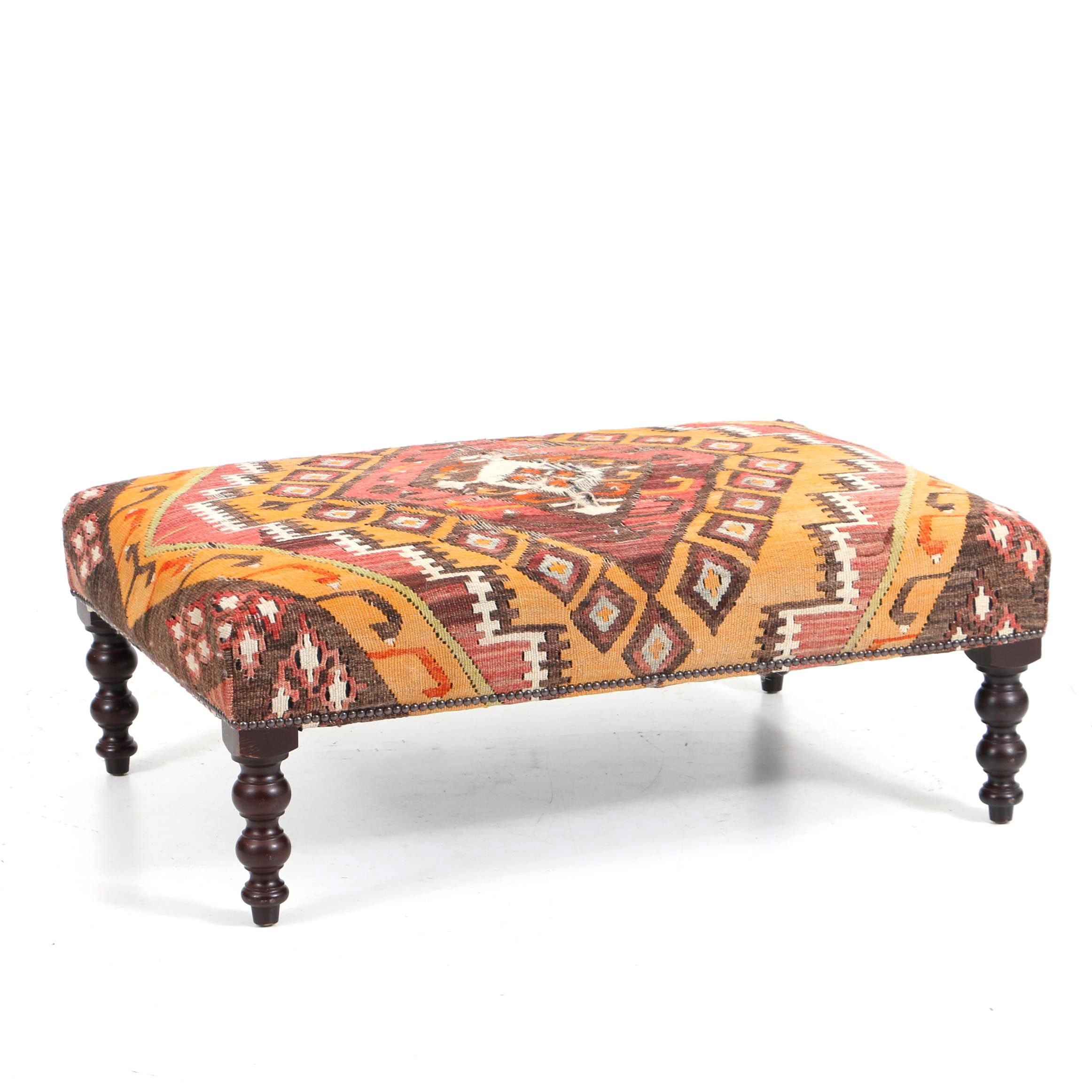 Michael Smith Kilim Upholstered Stool with Turned Legs