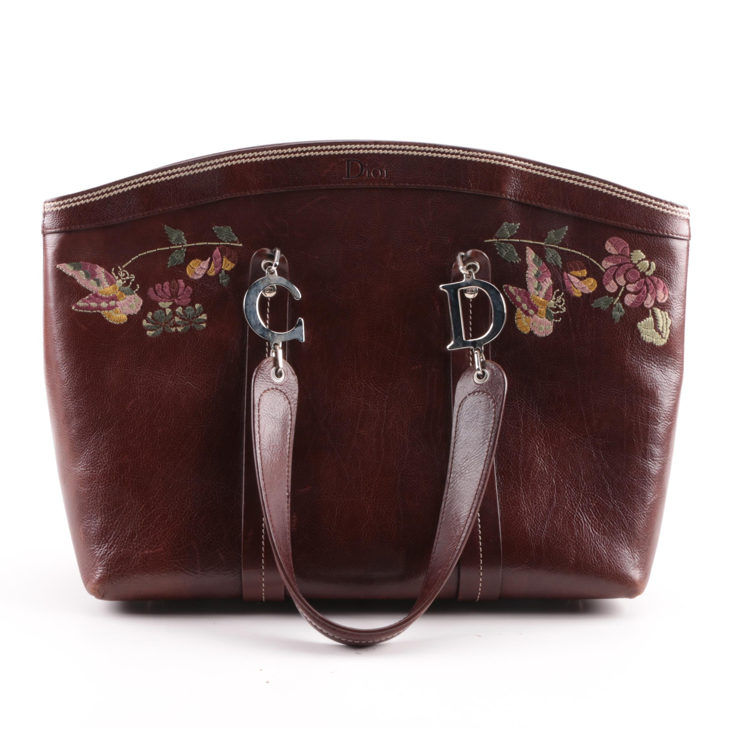 Christian Dior Burgundy Leather Butterfly and Floral Embroidered Satchel