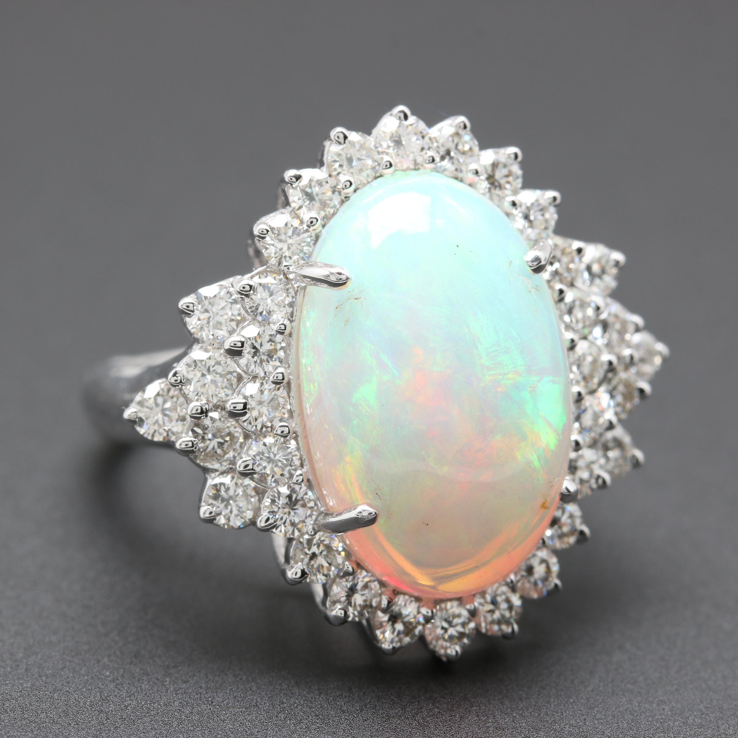 18K White Gold Opal and 1.68 CTW Diamond Ring