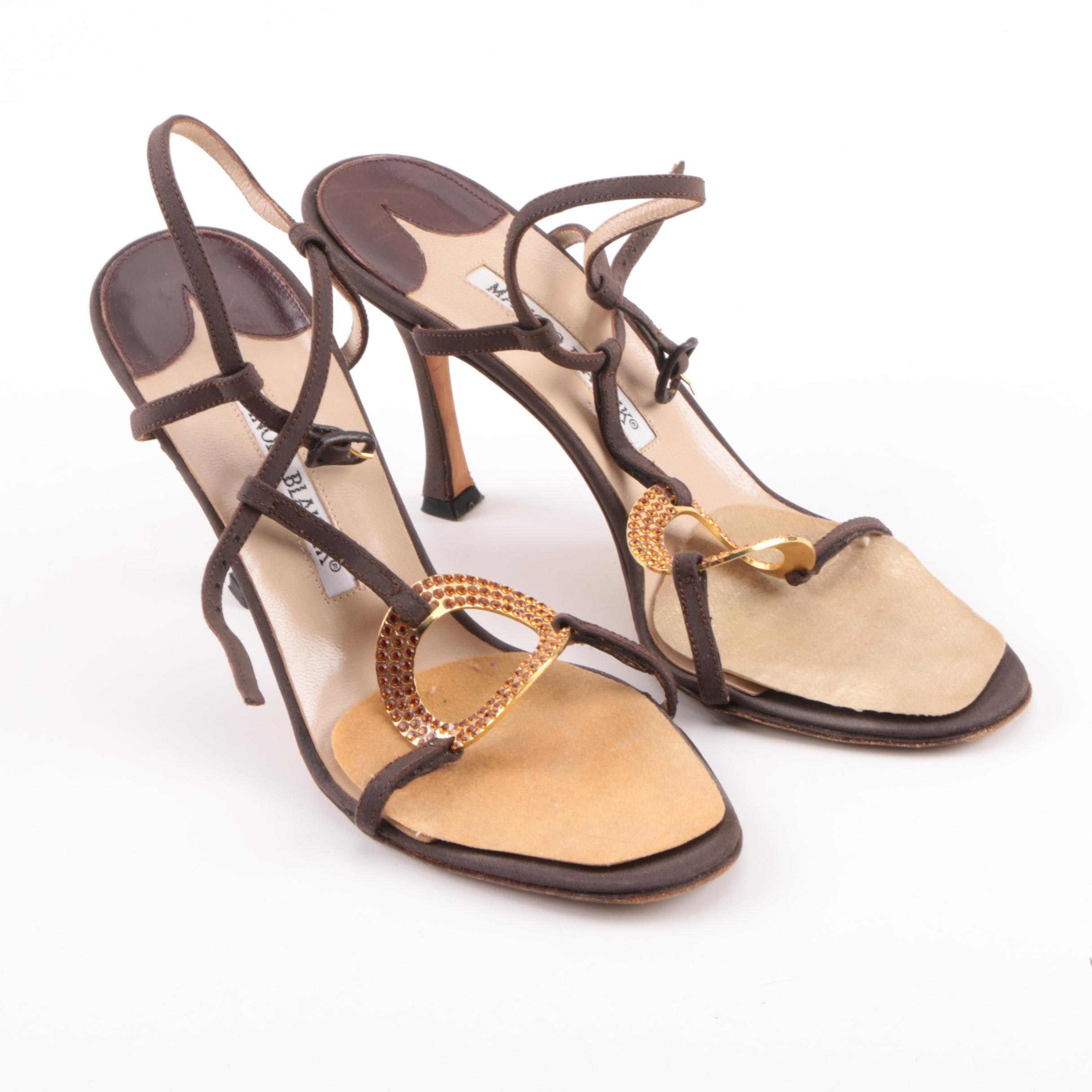 Women's Manolo Blahnik Embellished Brown Fabric Covered Leather Heeled Sandals