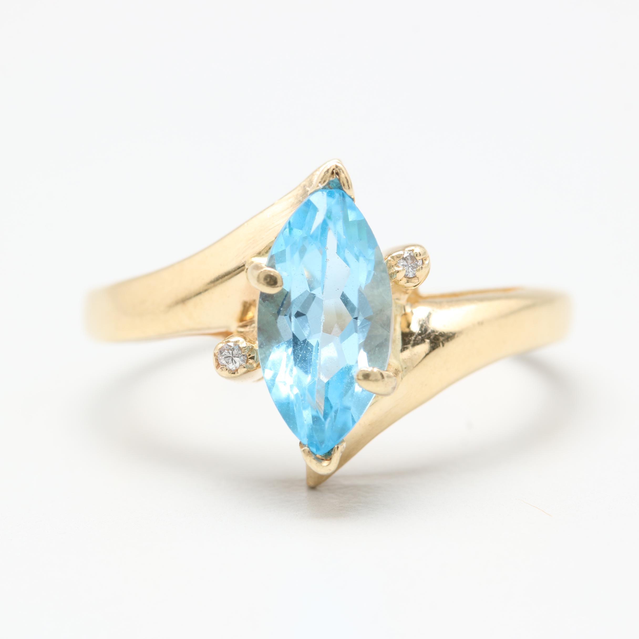 14K Yellow Gold Blue Topaz and Diamond Ring