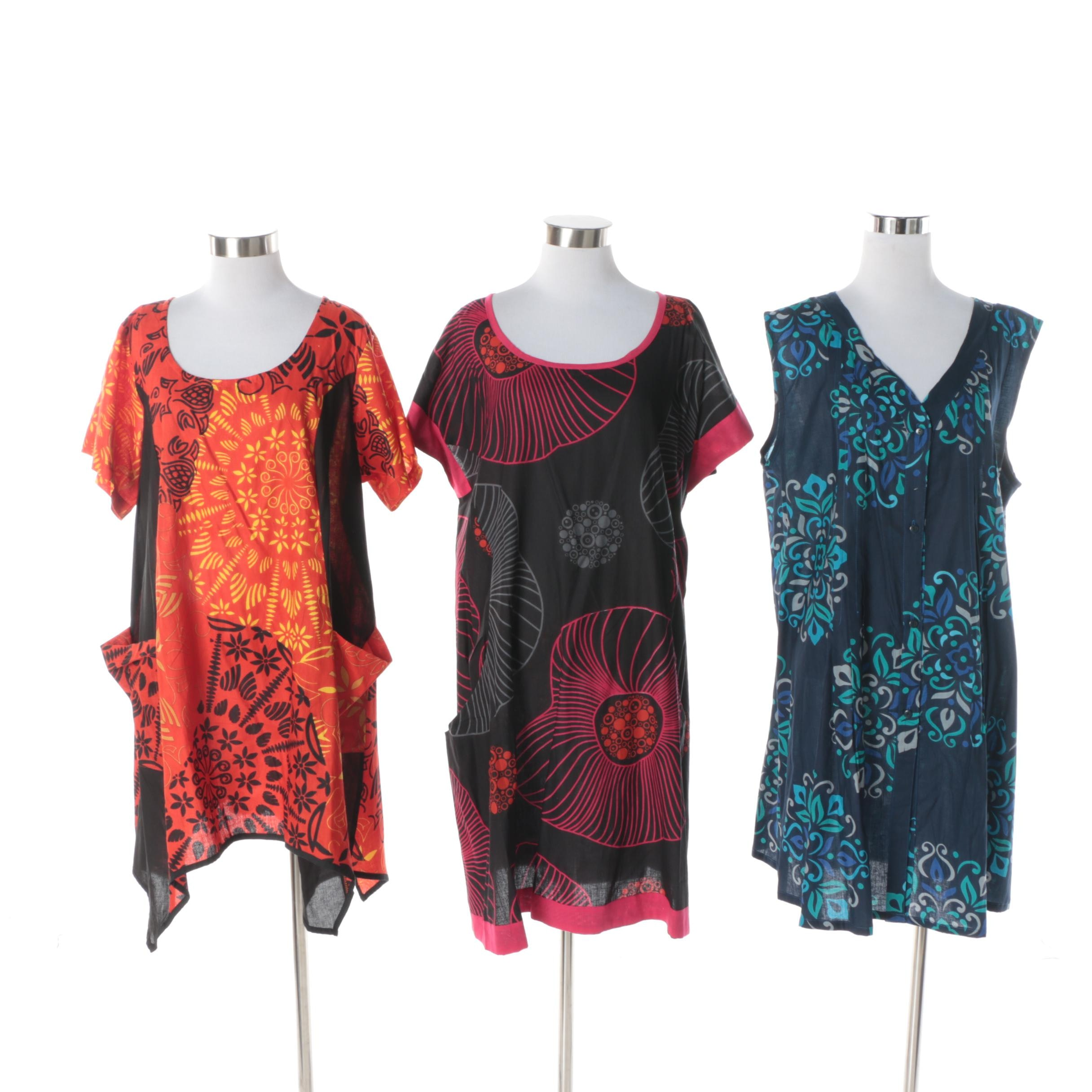 Aller Simplement Patterned Tunic Dresses