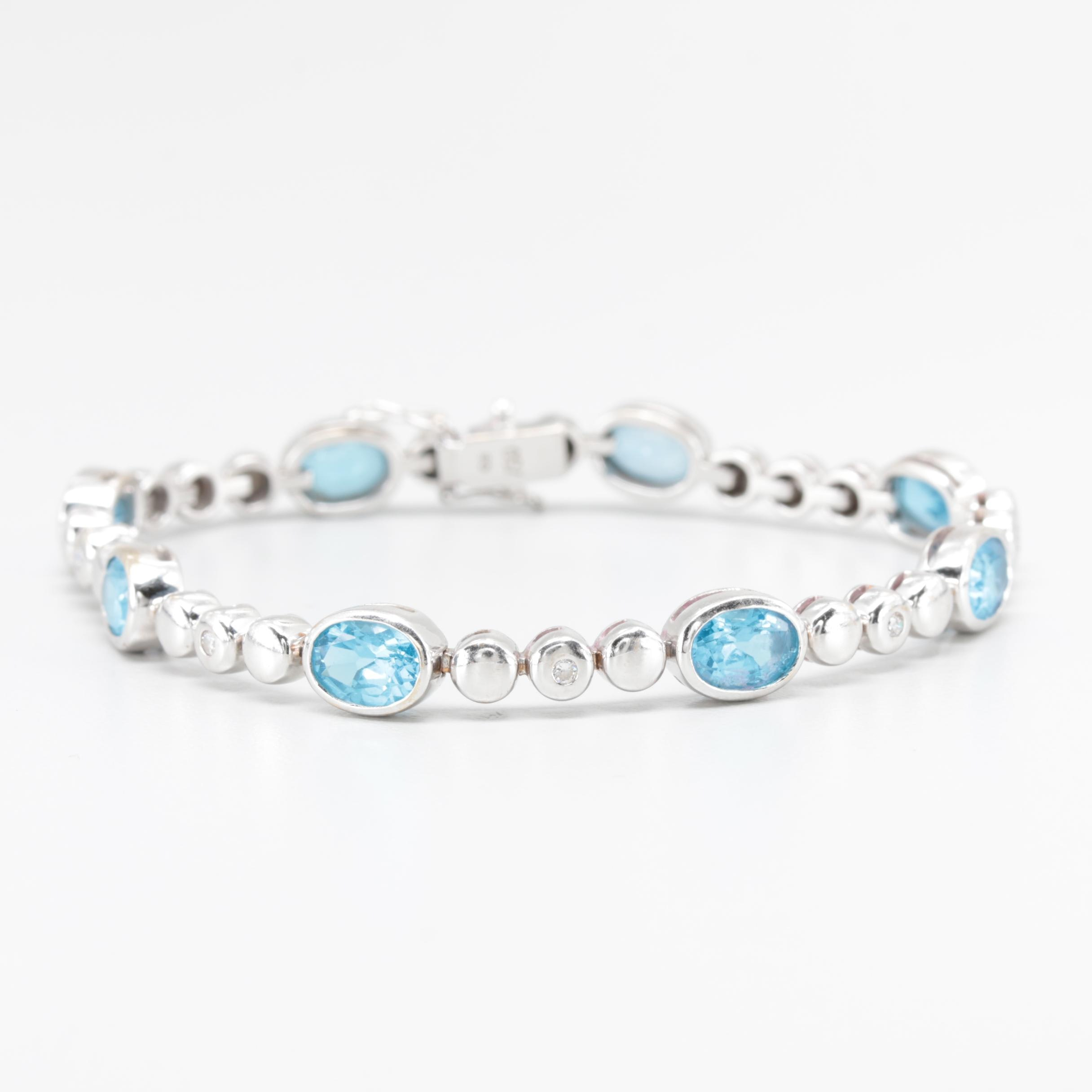 18K White Gold Blue Topaz and Diamond Bracelet