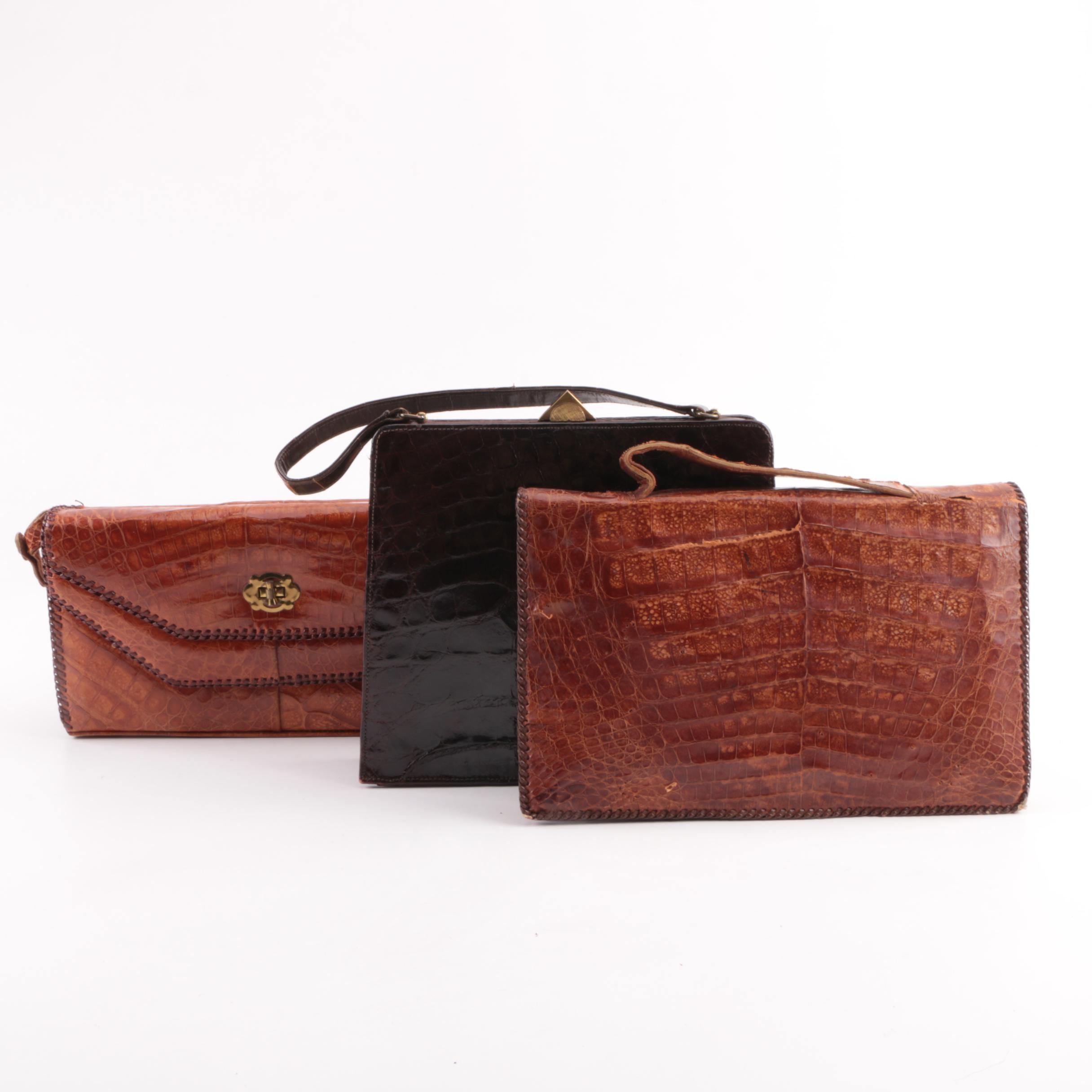 Vintage Caiman and Alligator Handbags