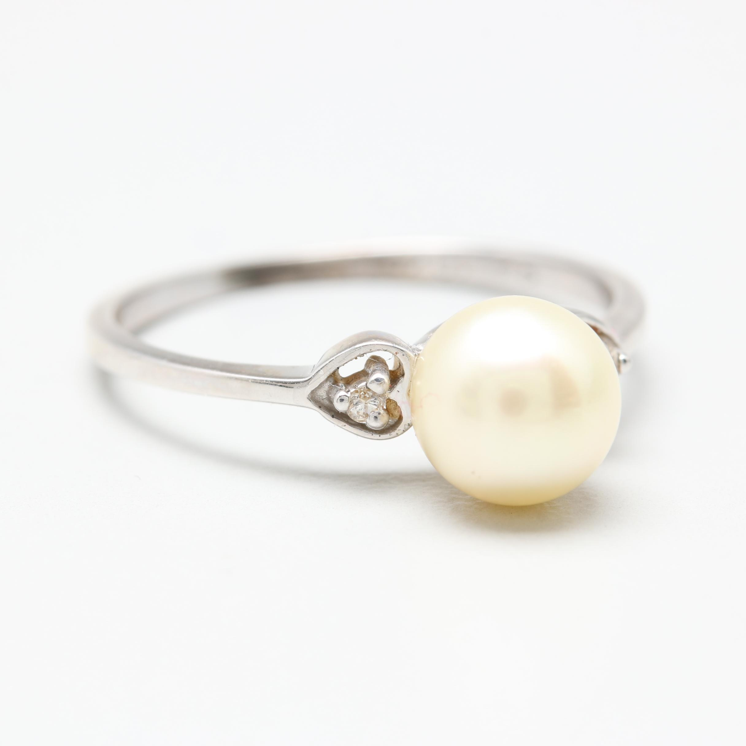 10K White Gold Cultured Pearl and Diamond Ring