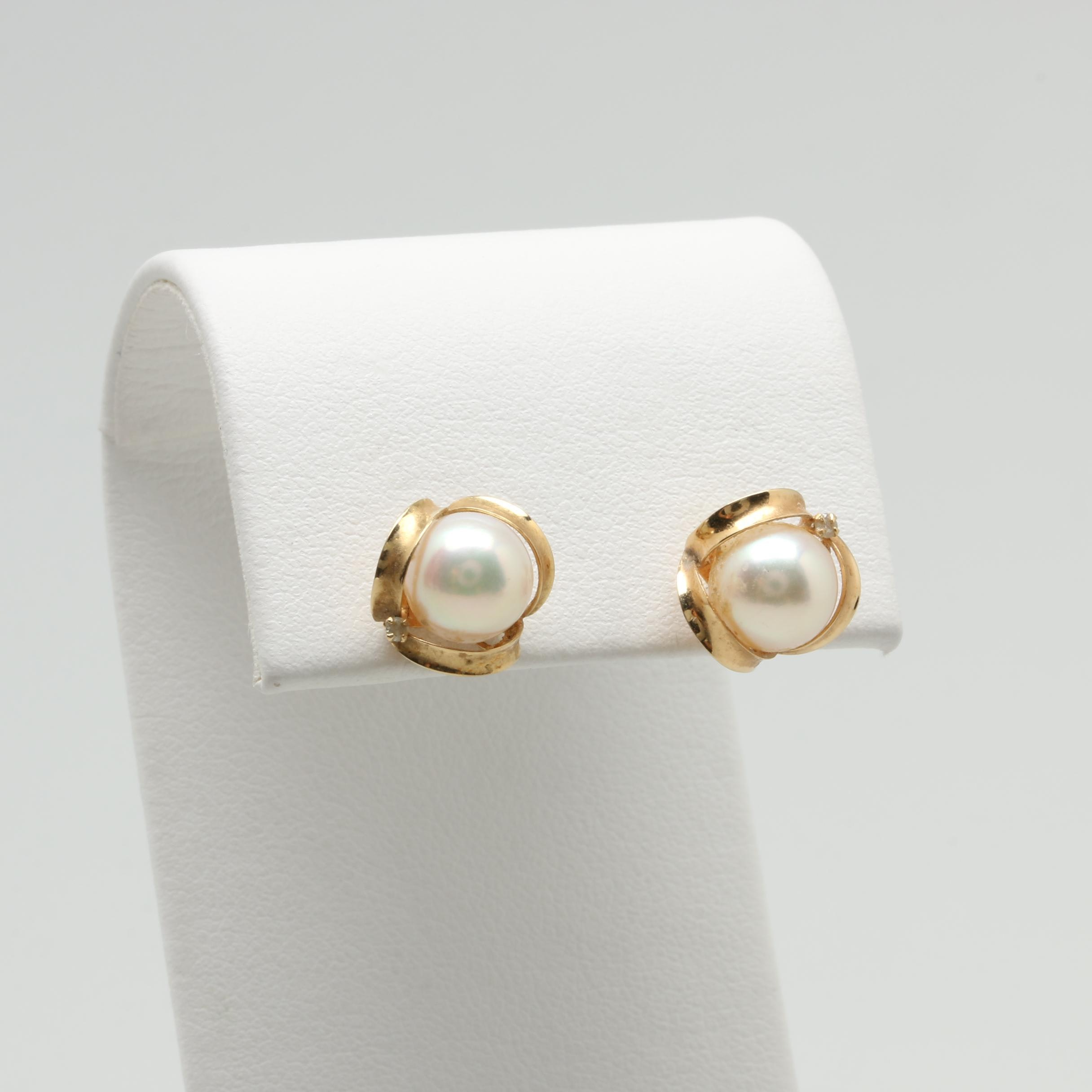 18K Yellow Gold Cultured Pearl and Diamond Earrings
