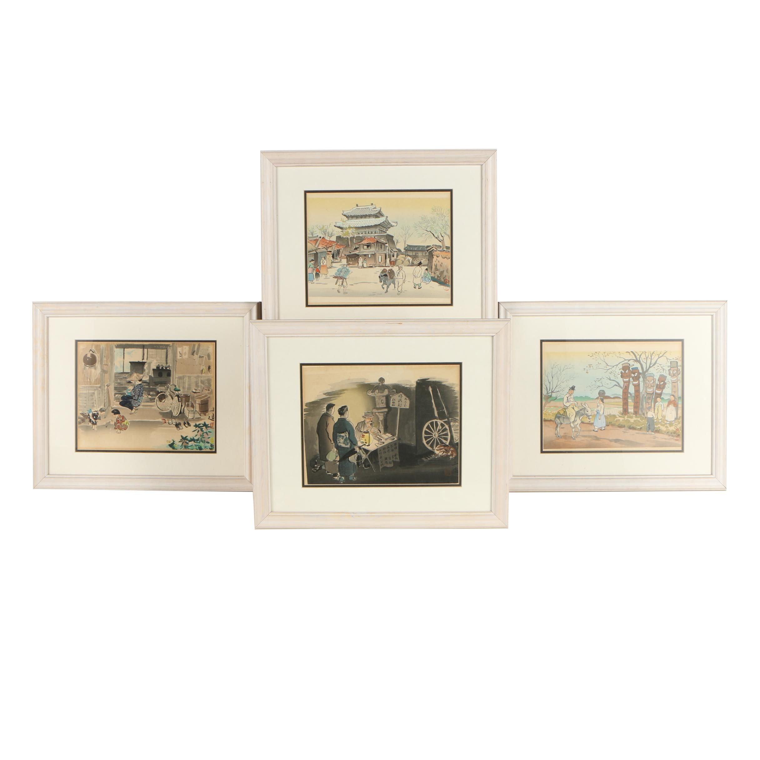 Wada Sanzo and Hiyoshi Mamoru Mid Century Japanese Woodblock Prints
