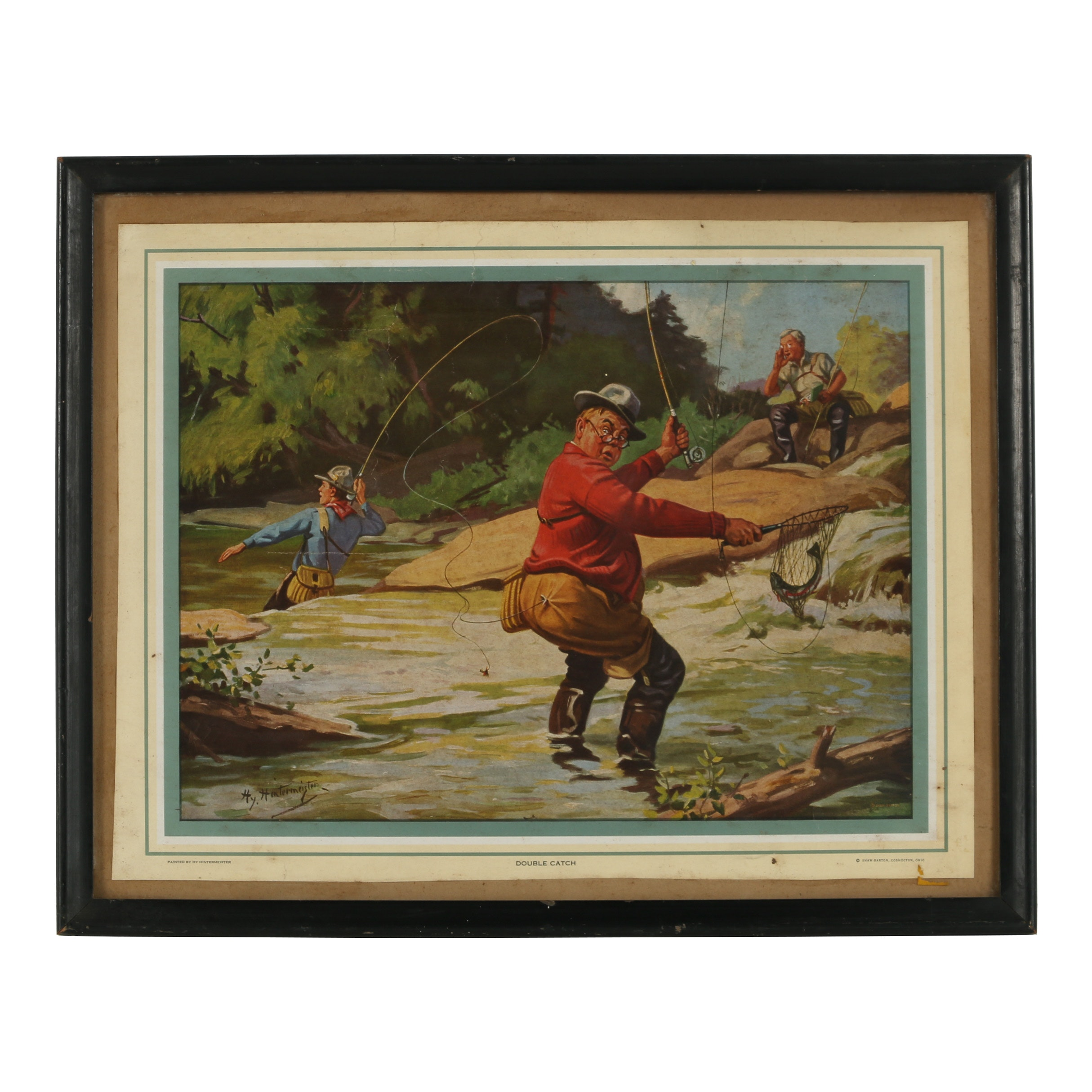 """Offset Lithograph after John Henry Hintermeister """"Double Catch"""""""