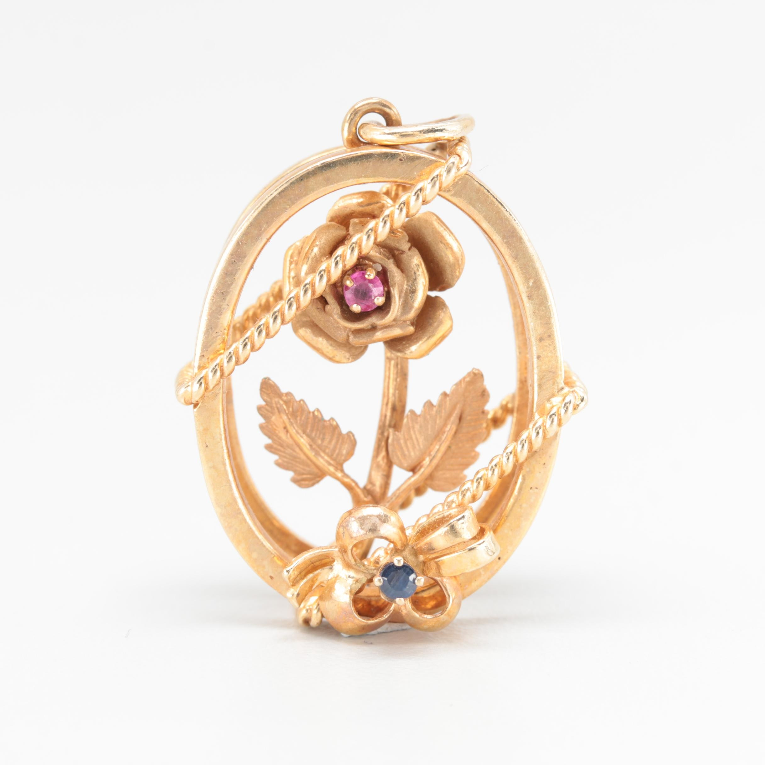 14K Yellow Gold Ruby and Sapphire Pendant
