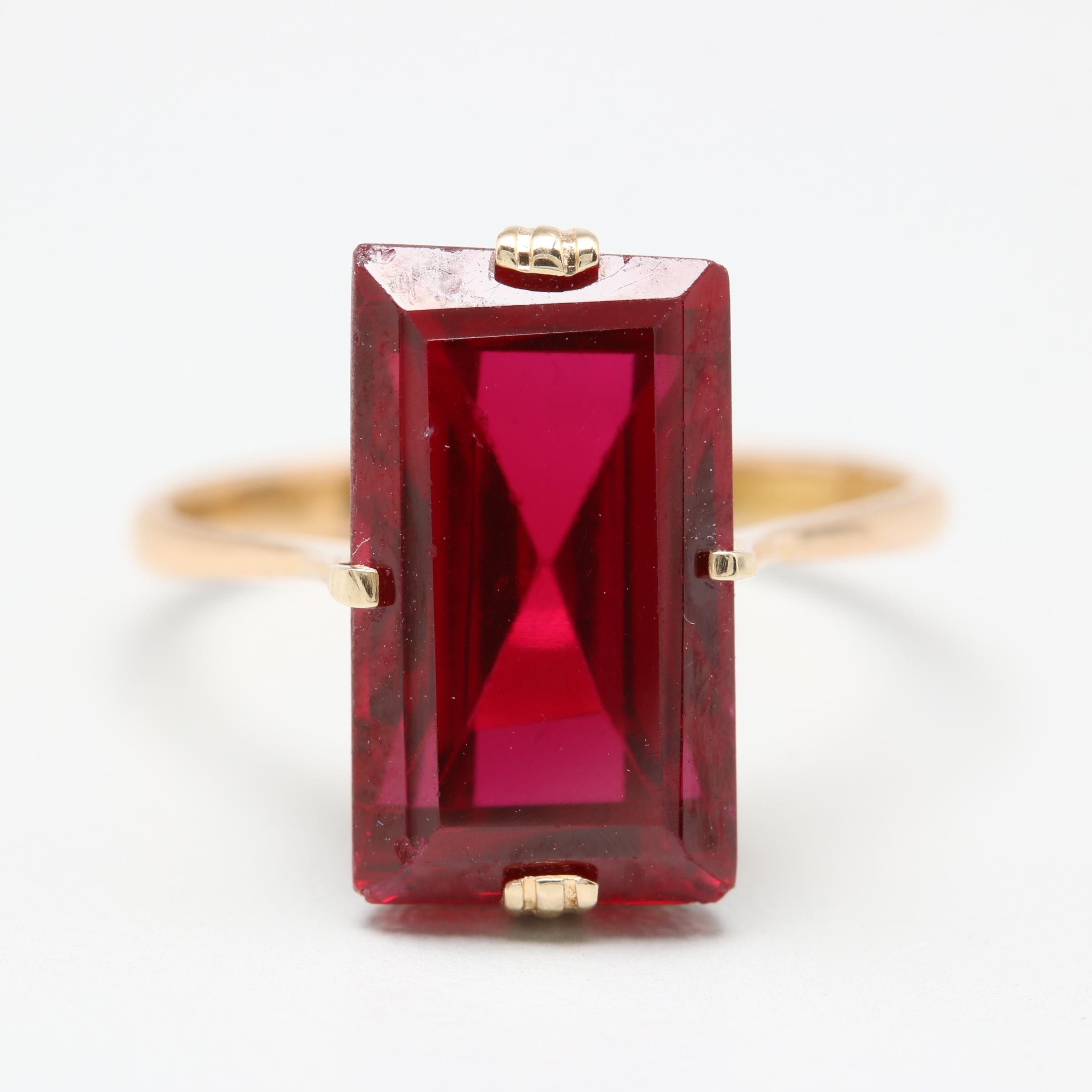 18K Rose and Yellow Gold Synthetic Ruby Ring