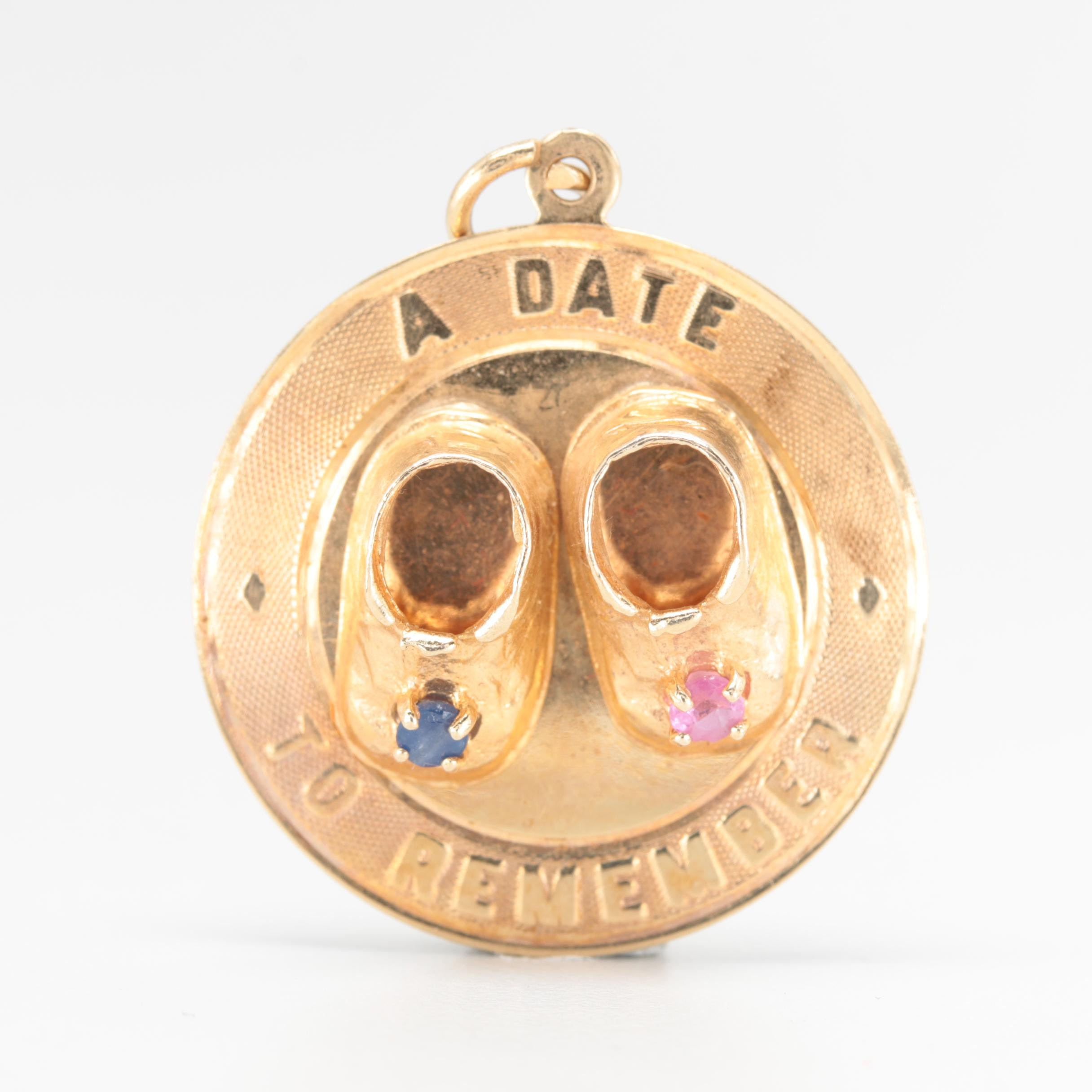 14K Yellow Gold Ruby and Sapphire Baby Shoes Pendant