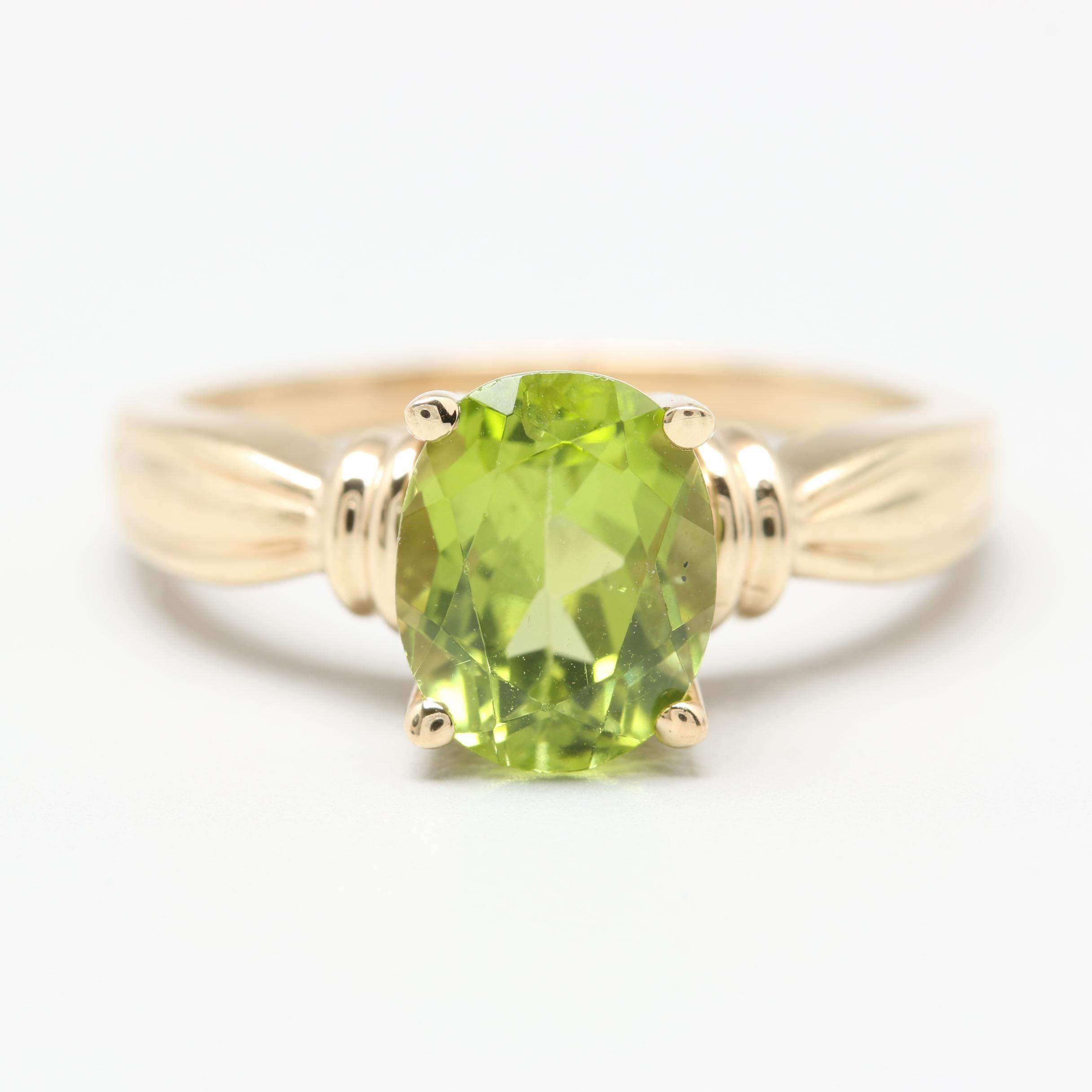 10K Yellow Gold Peridot Ring