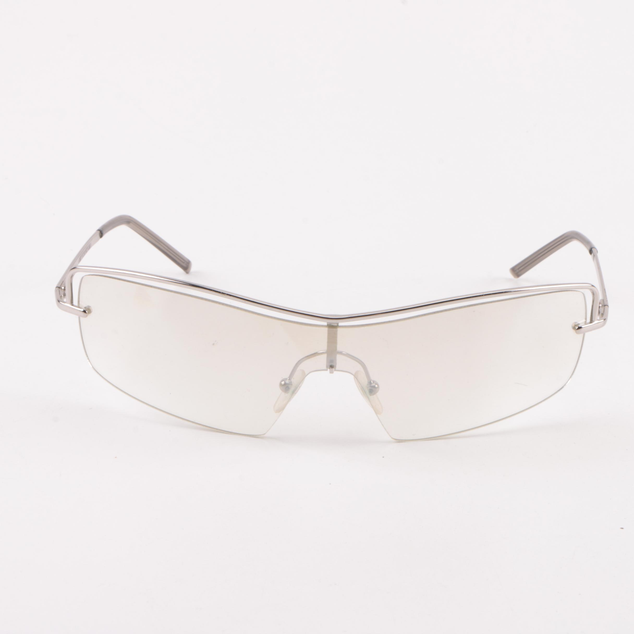 Gucci Clear Mirror Frame Shield Sunglasses