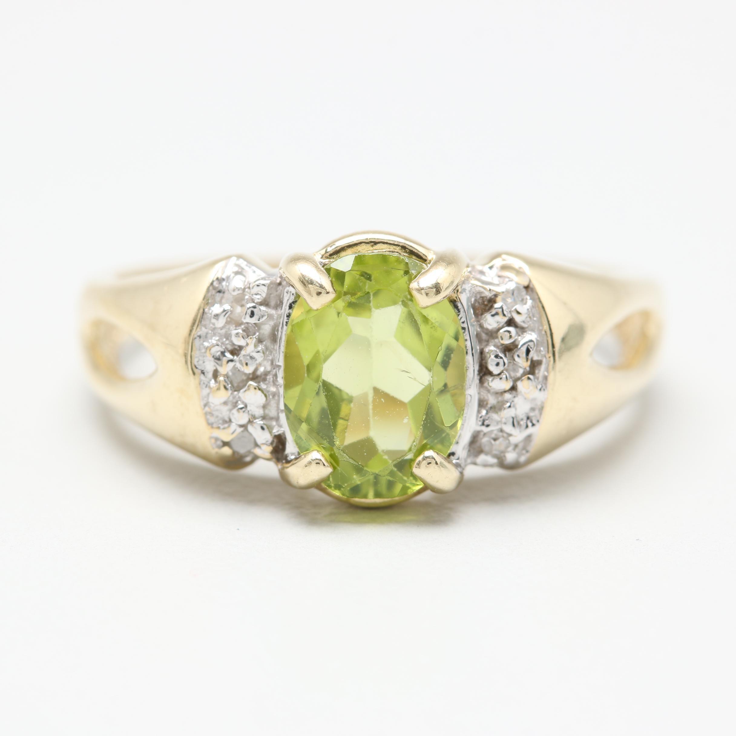10K Yellow and White Gold Peridot and Diamond Ring