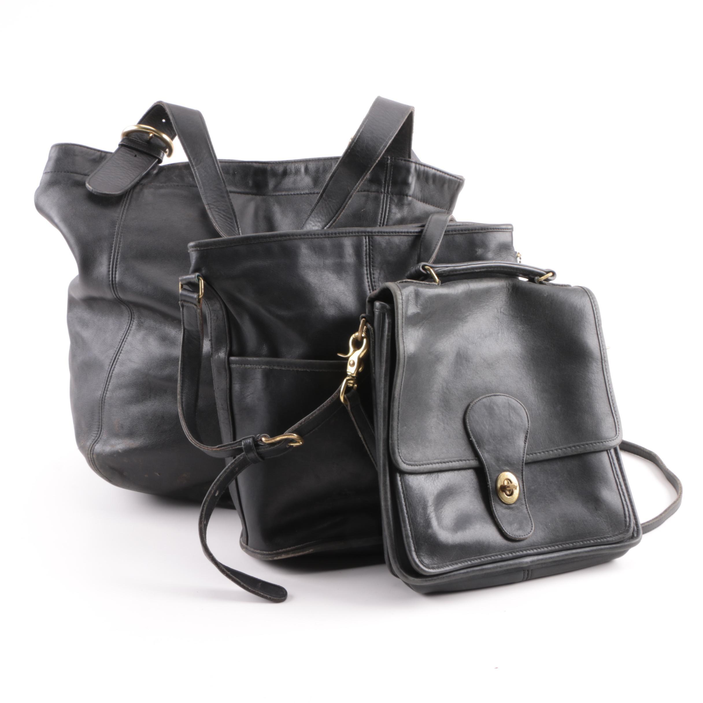 Vintage Coach Black Leather Handbags