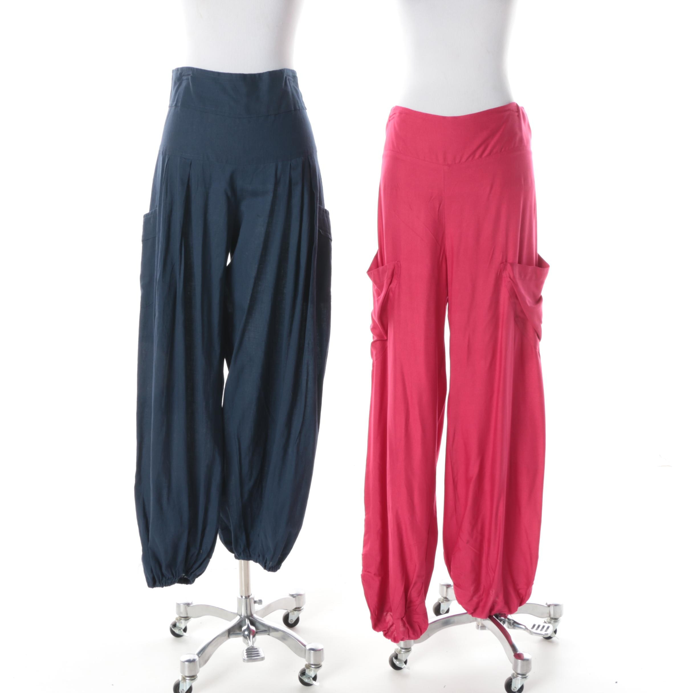 Women's Aller Simplement Red and Blue Harem Pants