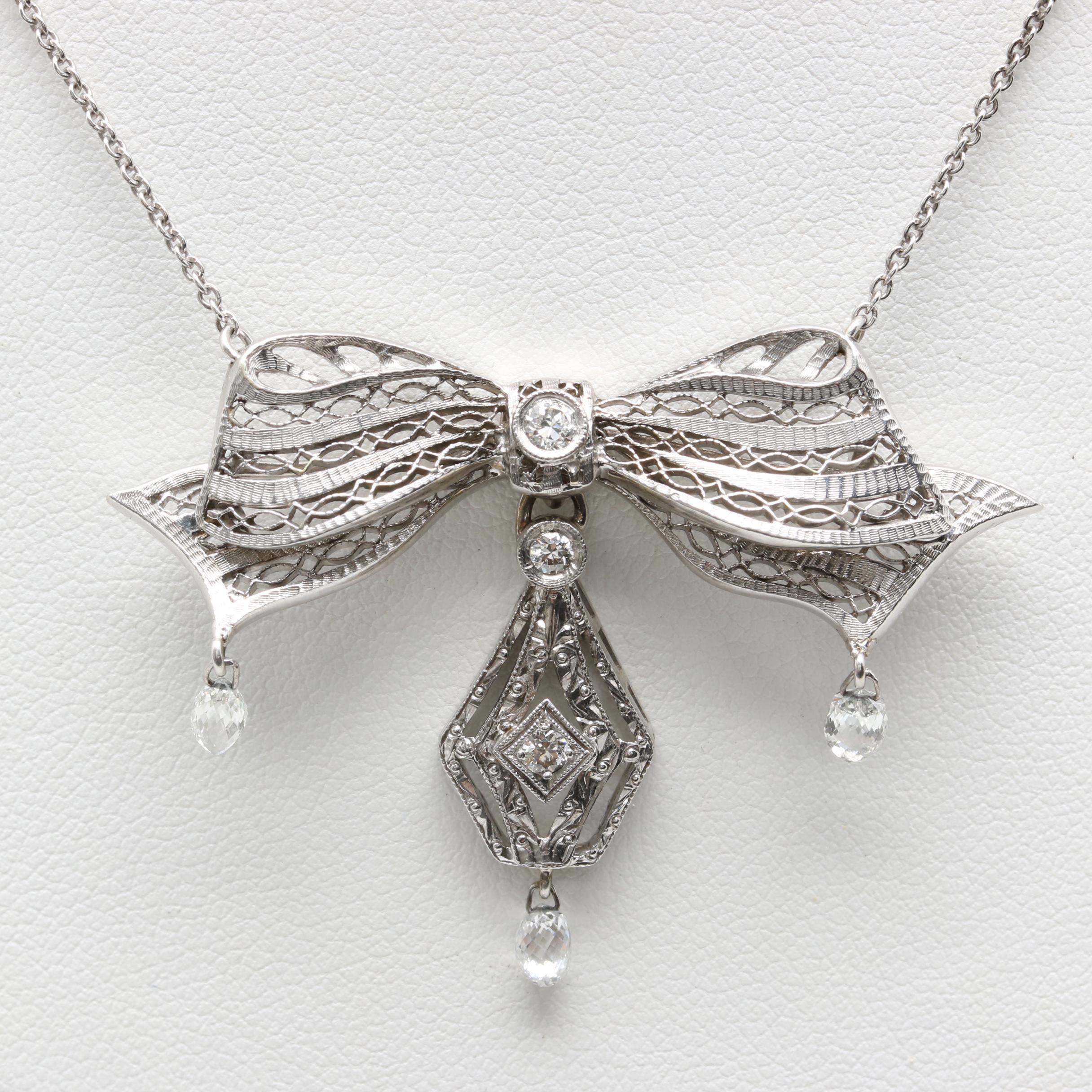 14K White Gold and Platinum Diamond Necklace