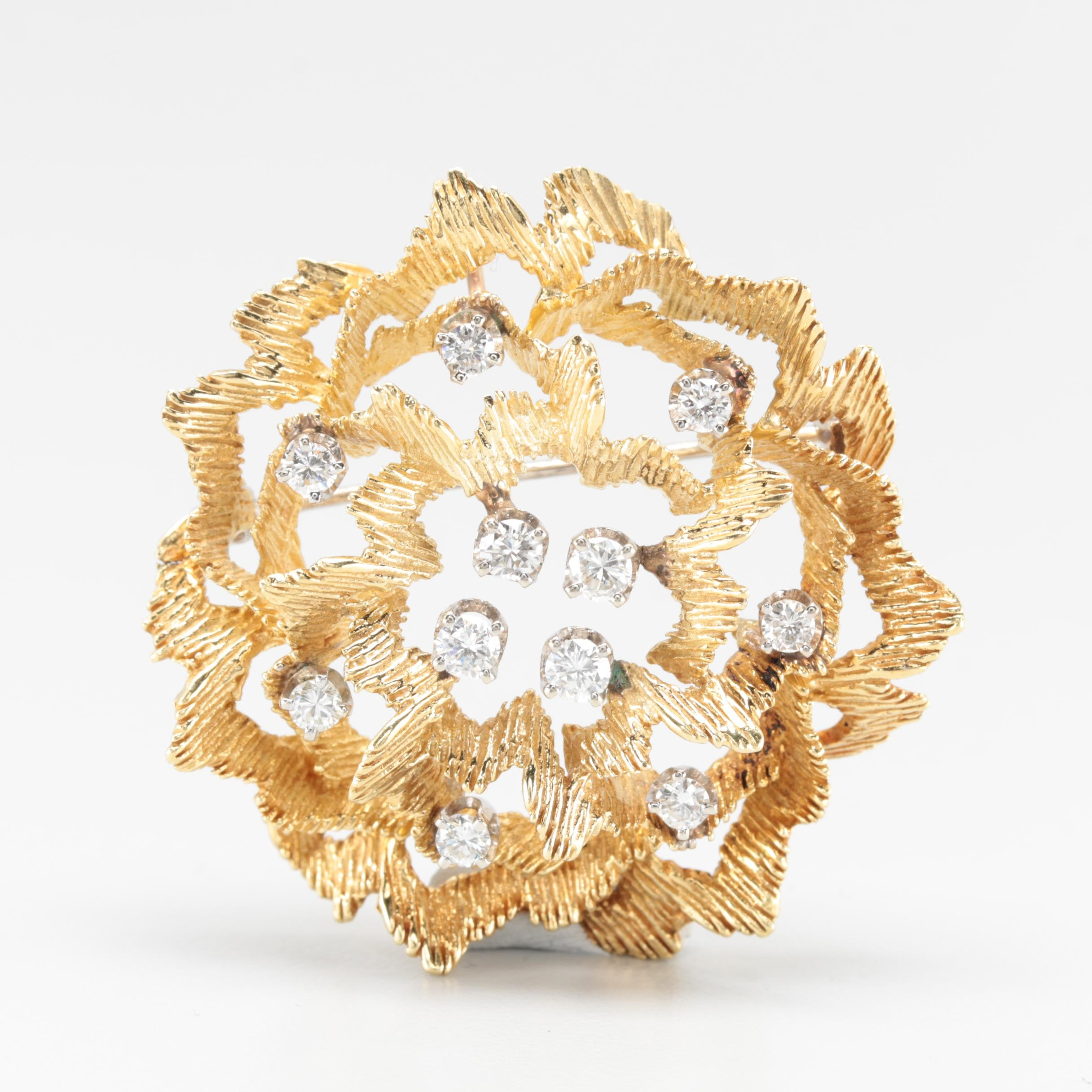 18K Yellow Gold 1.08 CTW Diamond Flower Converter Brooch