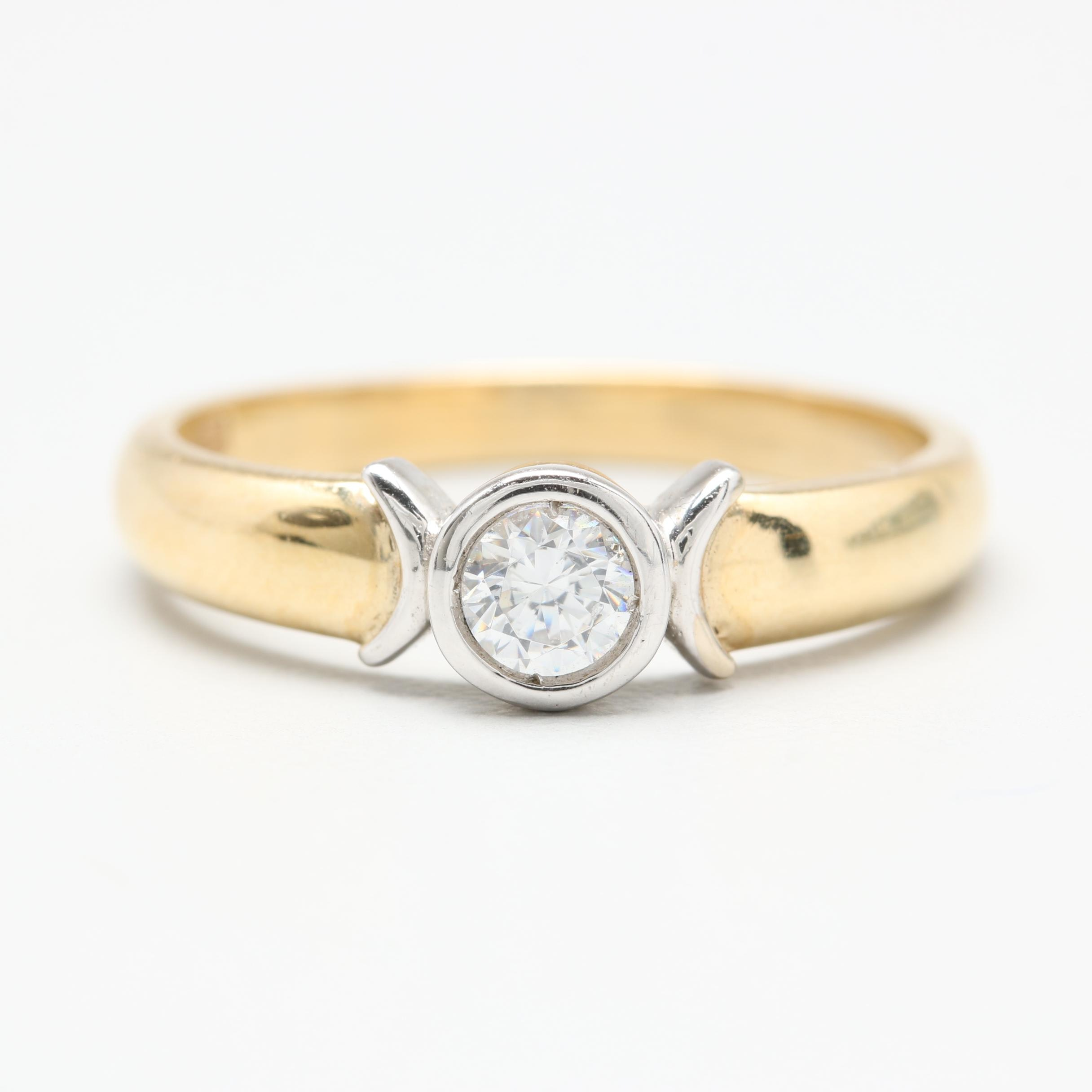 14K Yellow and White Gold Cubic Zirconia Ring