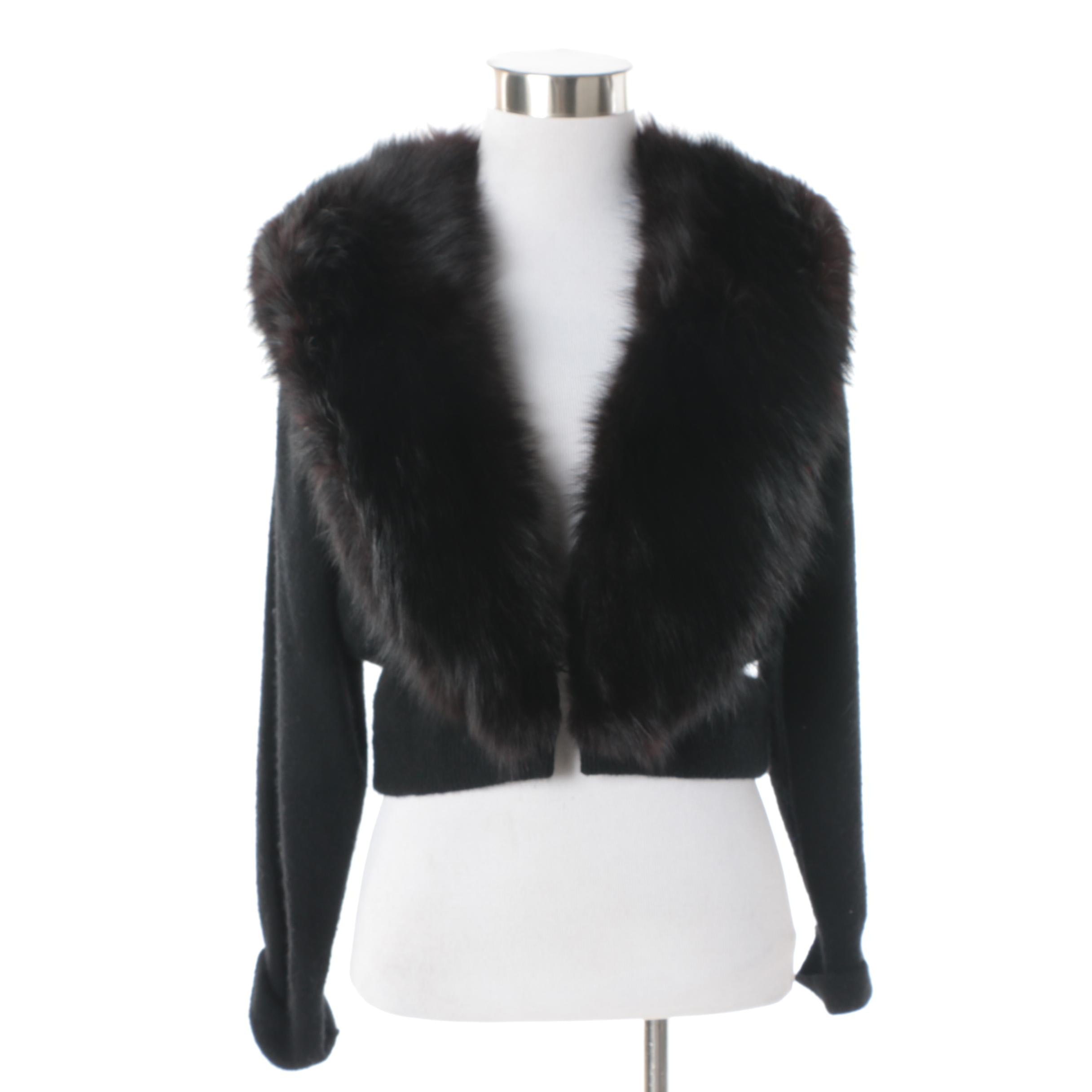 Women's Vintage Black Cashmere Cardigan with Removable Dyed Fox Fur Collar