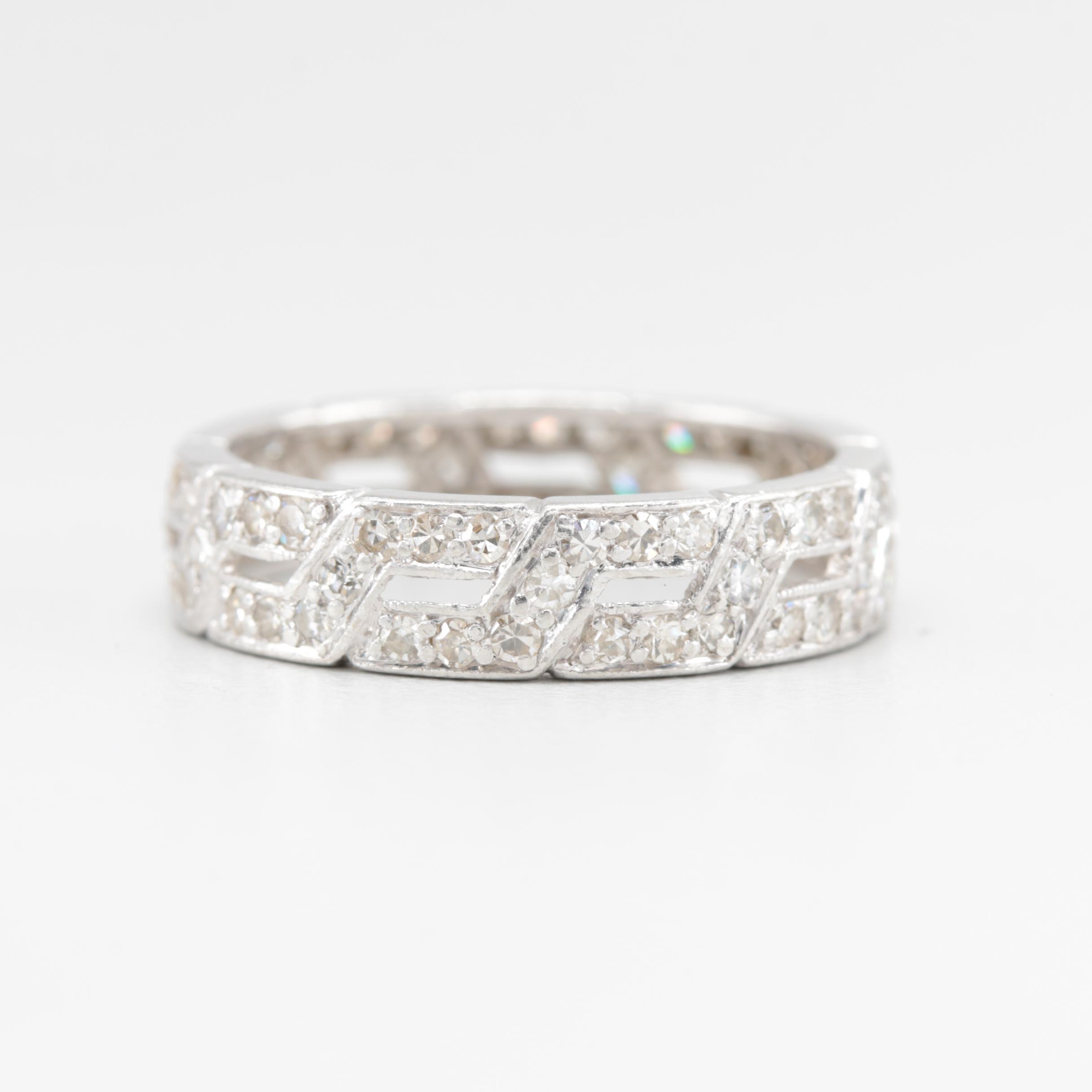 Platinum 1.00 CTW Diamond Eternity Band Ring