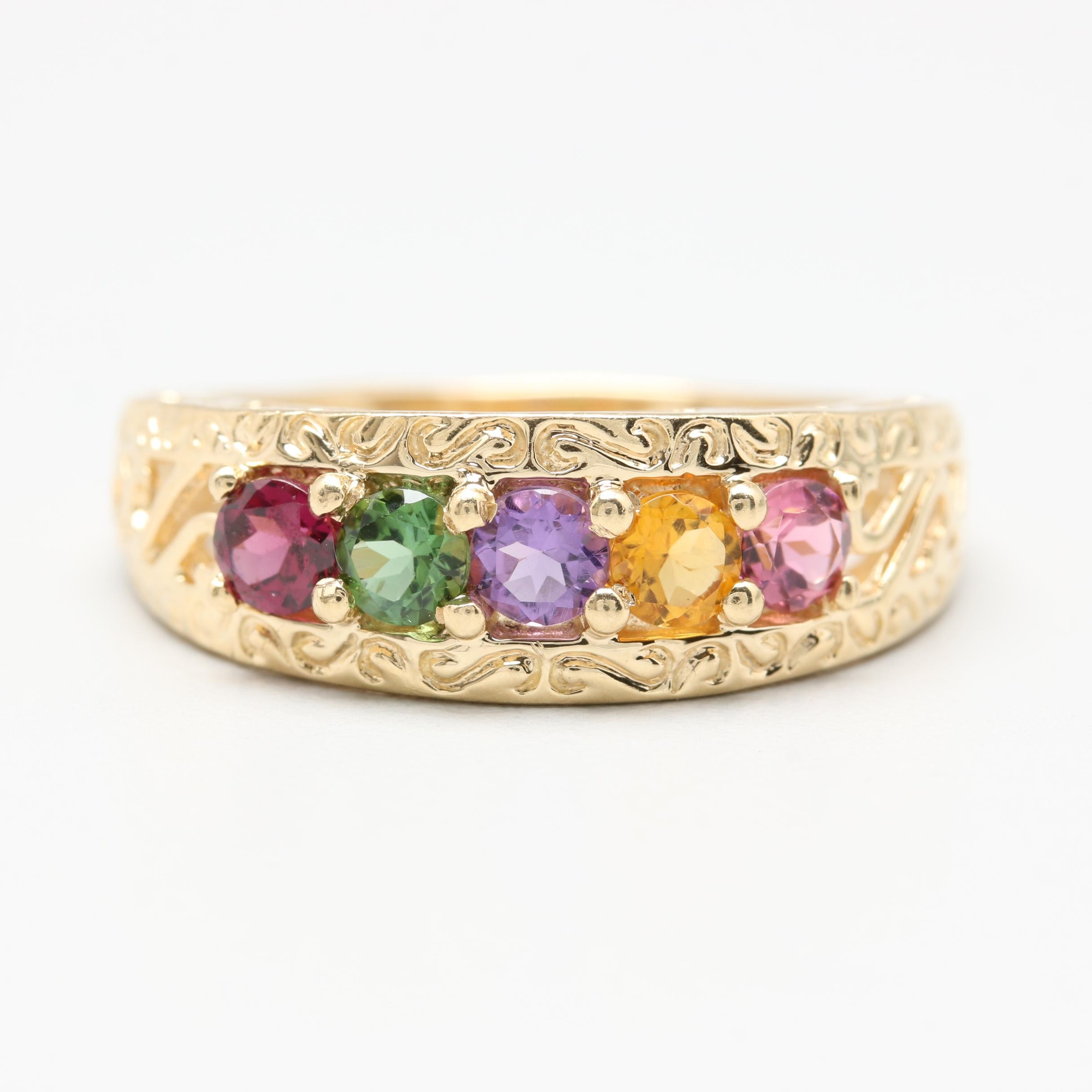 14K Yellow Gold Rhodium Garnet, Diopside, Citrine and Amethyst Ring