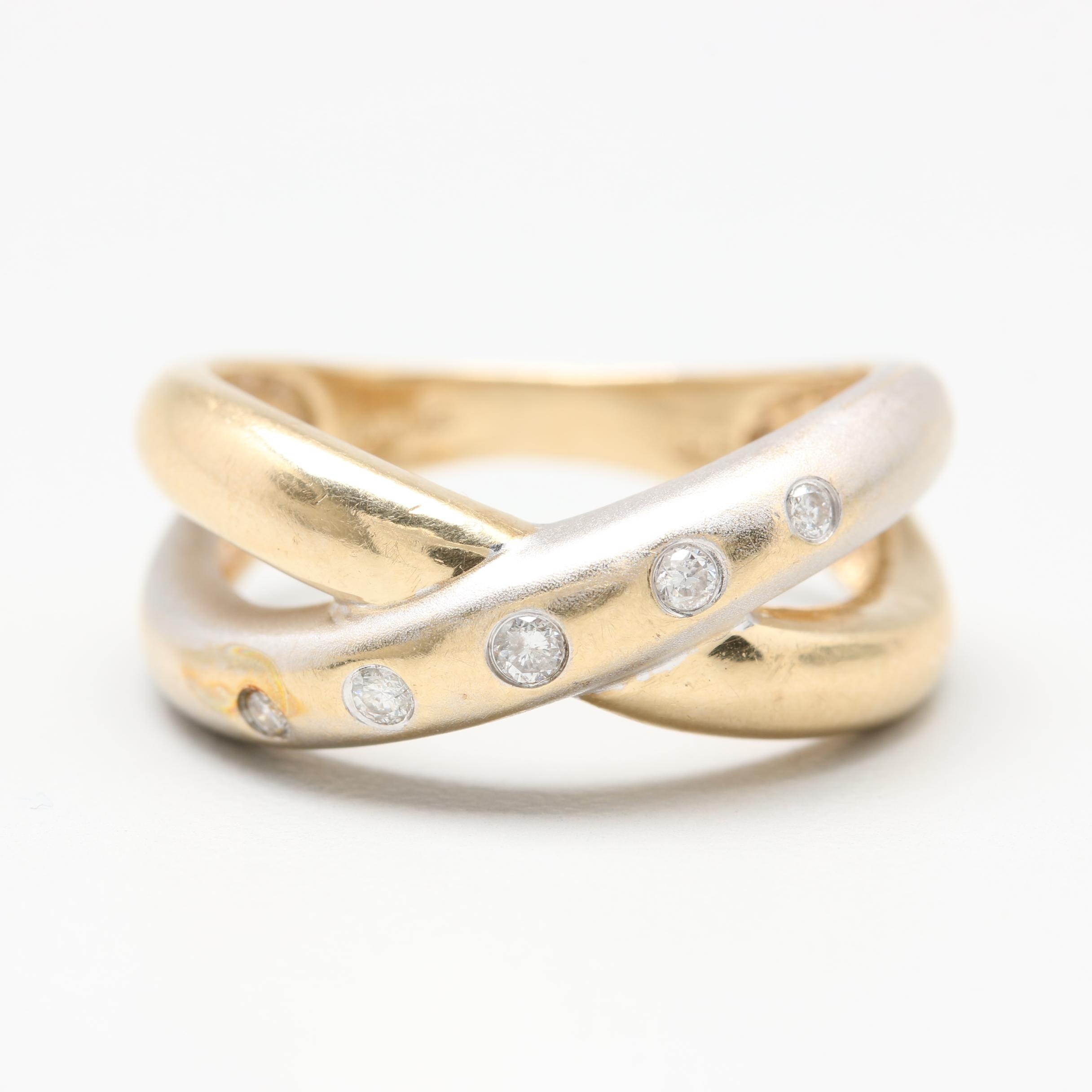 14K Yellow and White Gold Diamond Bypass Ring