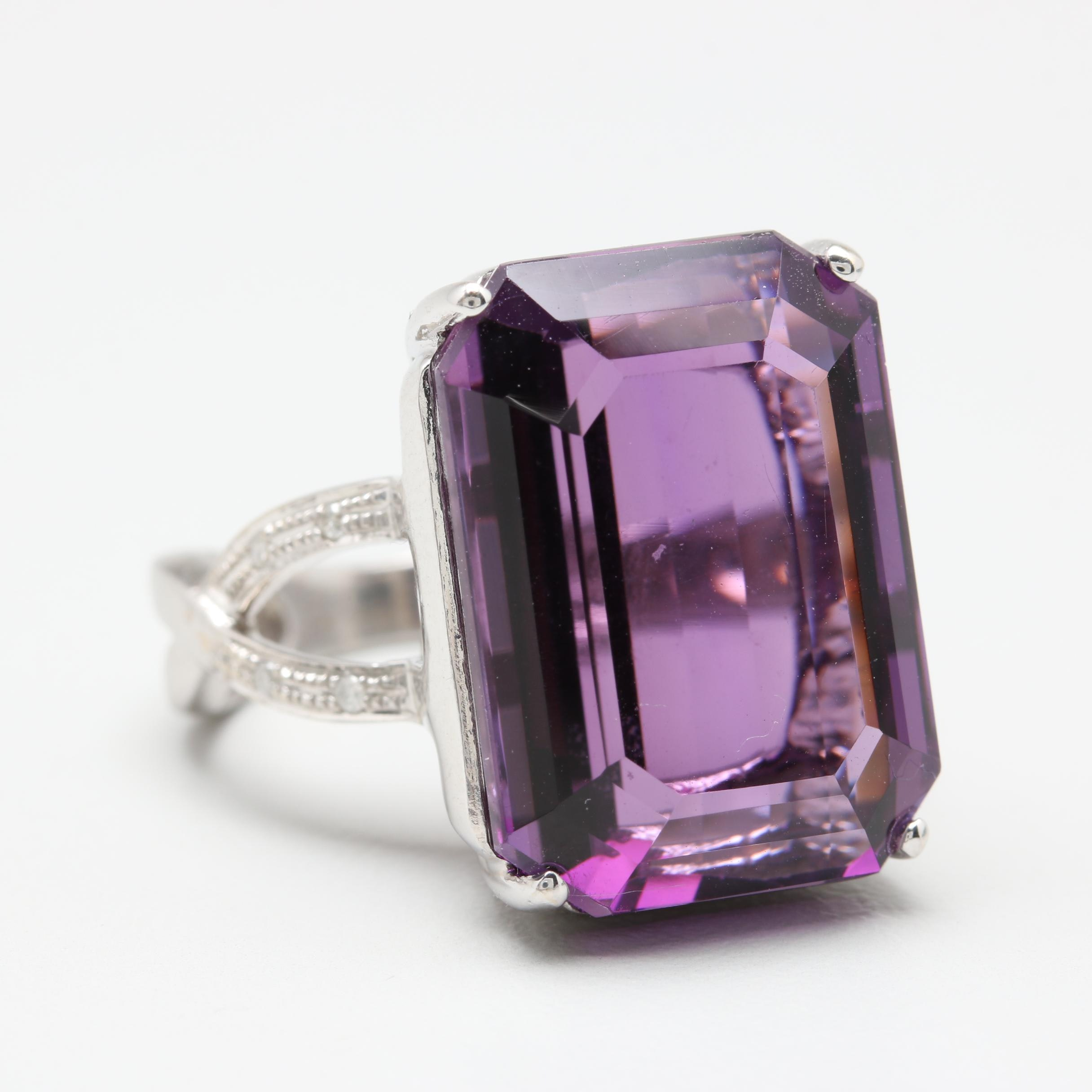 14K White Gold 20.38 CT Amethyst and Diamond Cocktail Ring