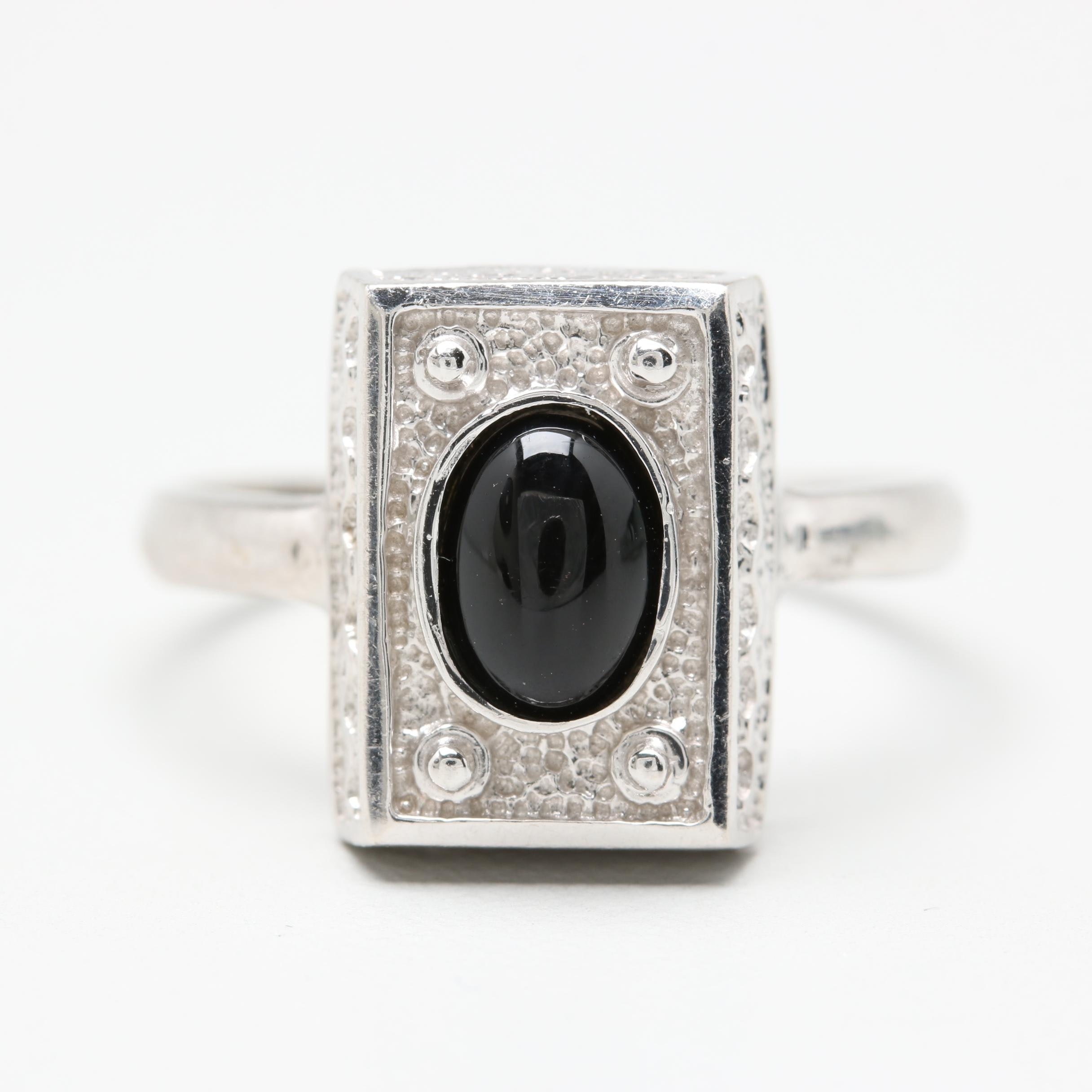 14K White Gold Black Onyx Ring