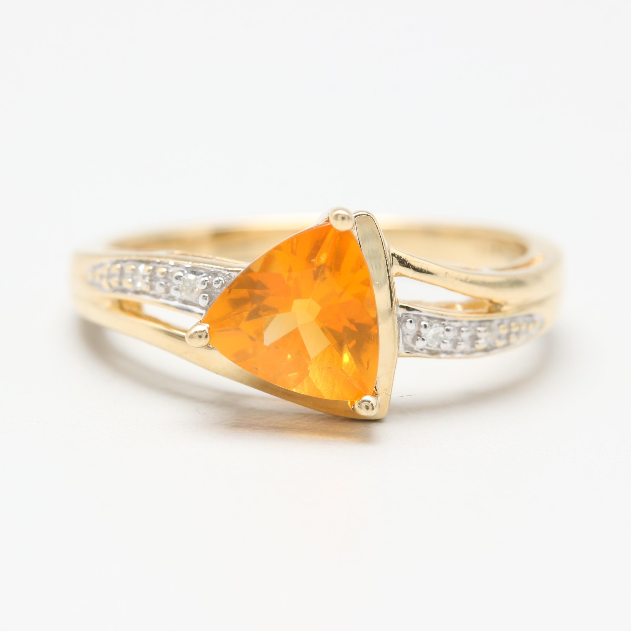 14K Yellow Gold Fire Opal and Diamond Ring with White Gold Accents