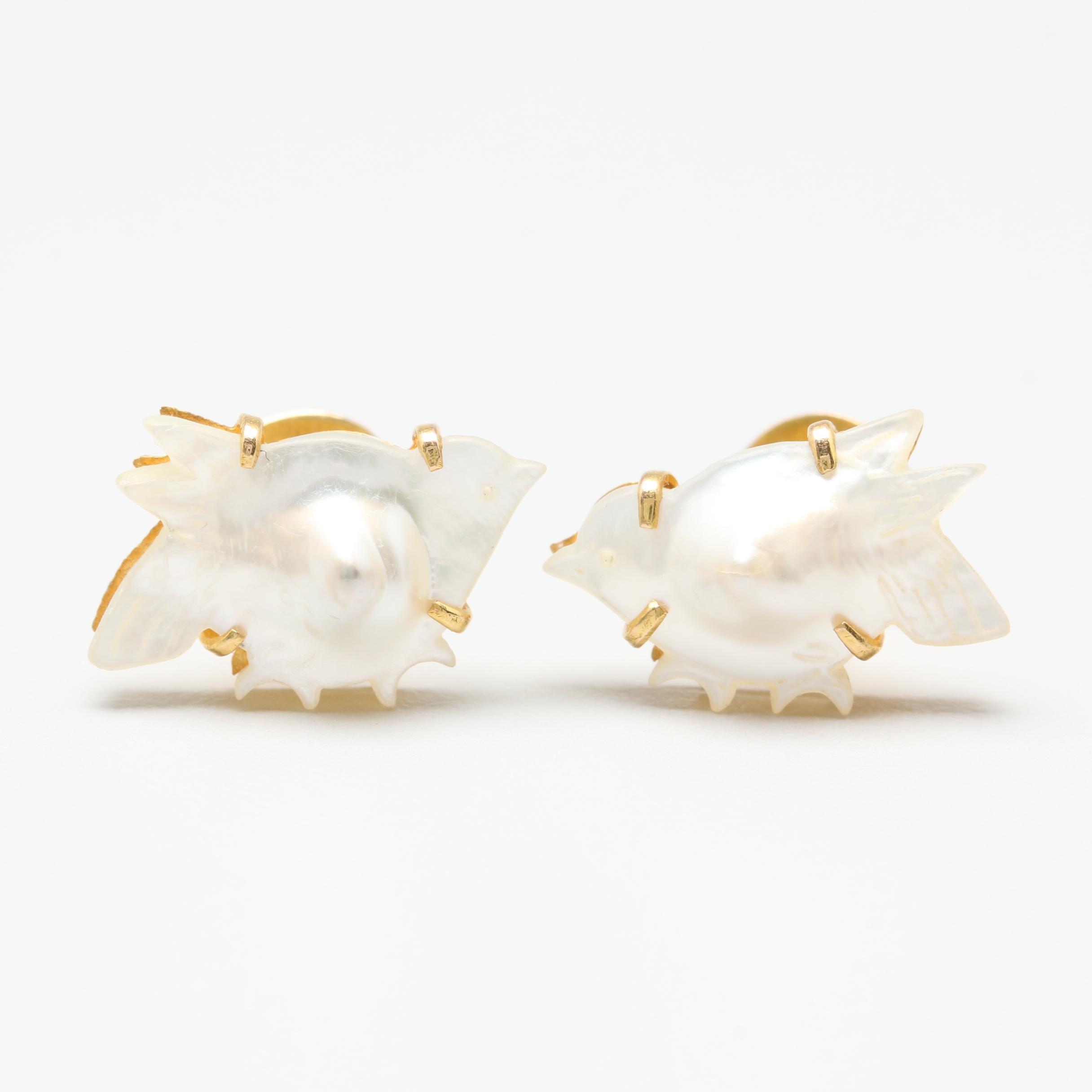 18K Yellow Gold Cultured Pearl Bird Earrings