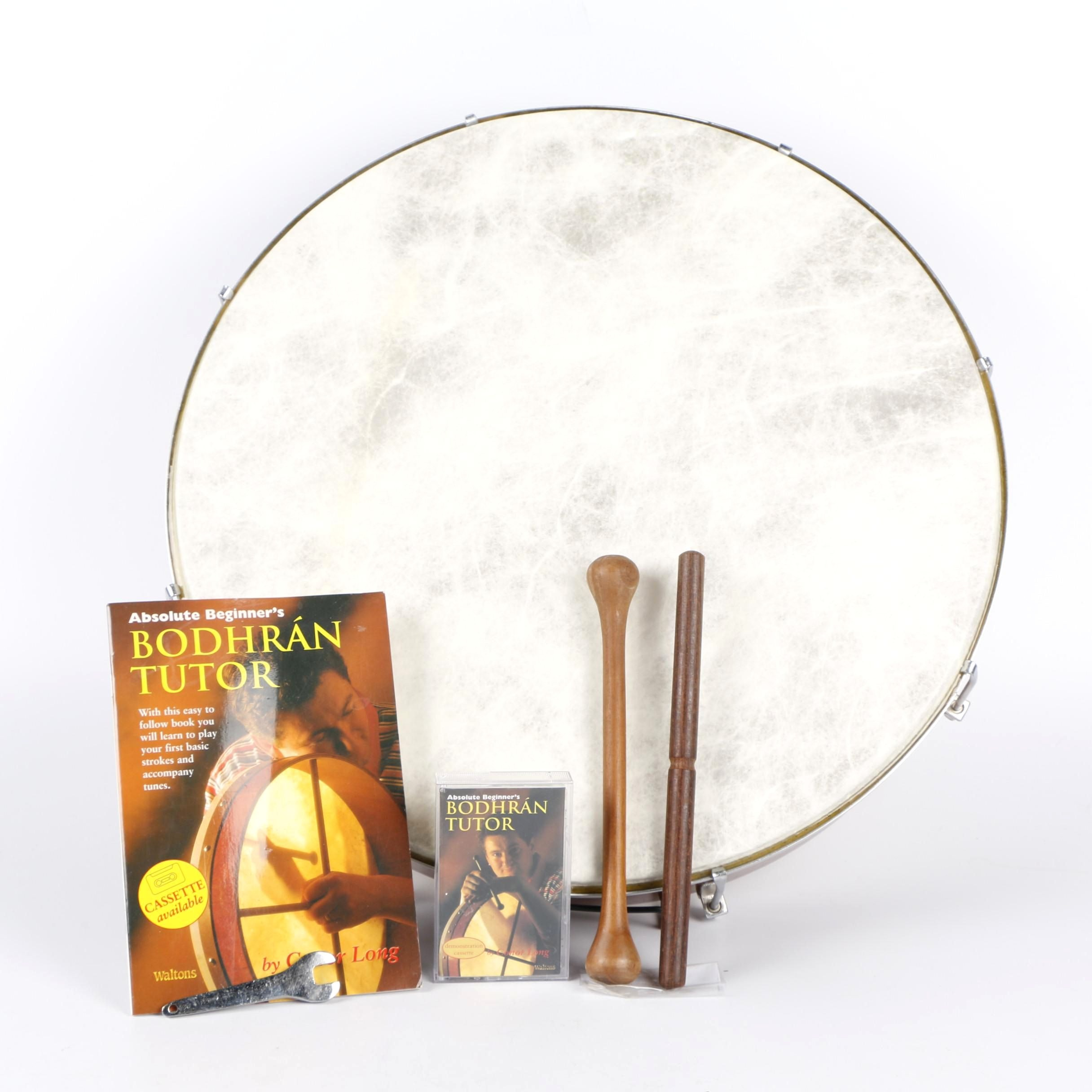 Irish Bodhrán Frame Drum with Book, Cassette, Tuning Wrench and Cipins