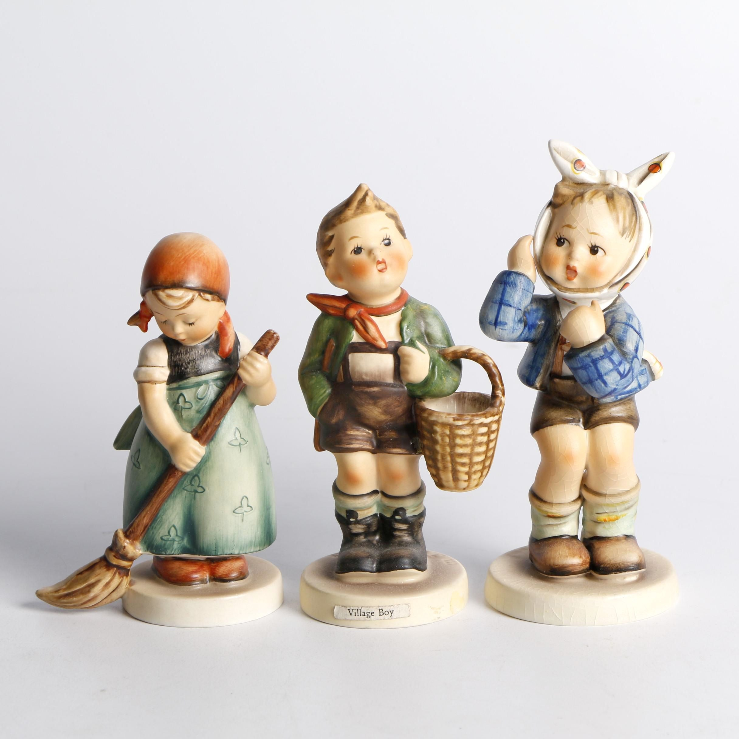 "Goebel Hummel ""Boy with Toothache"", ""Village Boy"" and ""Little Sweeper"" Figurines"
