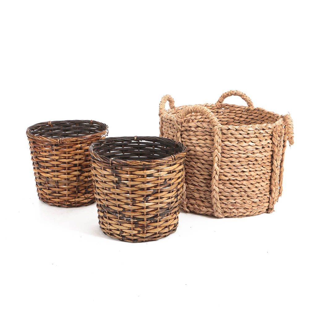 Woven Rattan and Raffia Storage Baskets