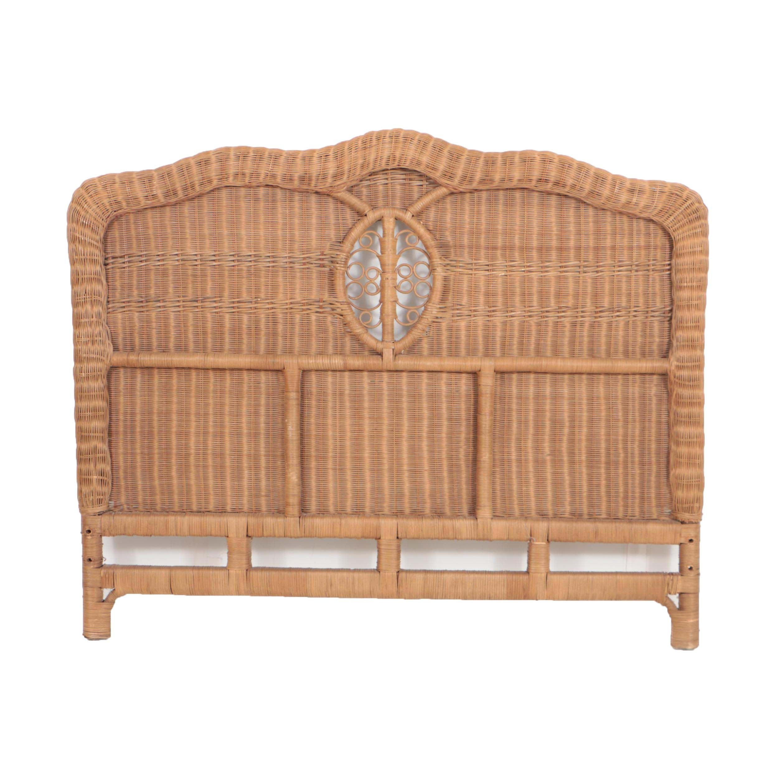 Rattan Wicker Woven Queen-Size Headboard