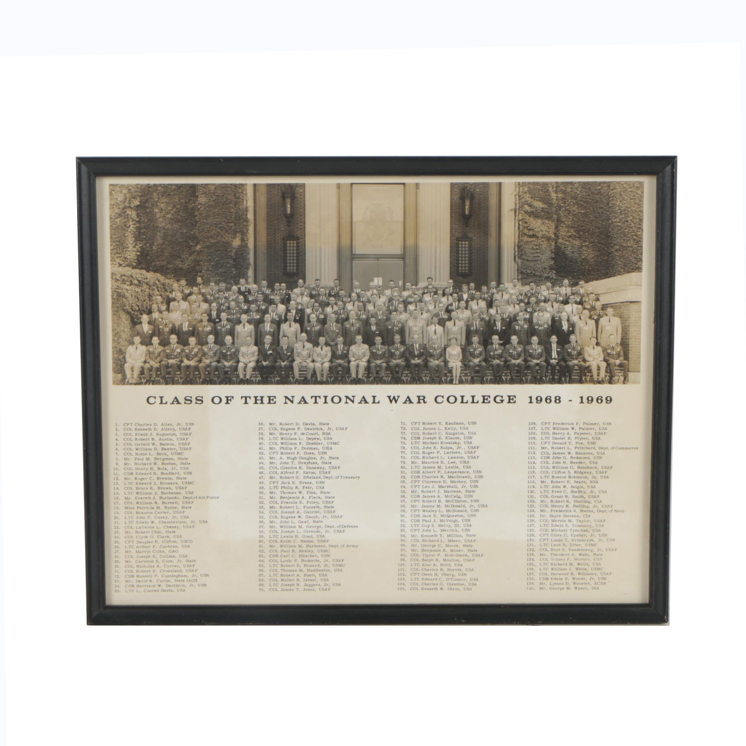 National War College Class of 1968-1969 Black and White Photograph
