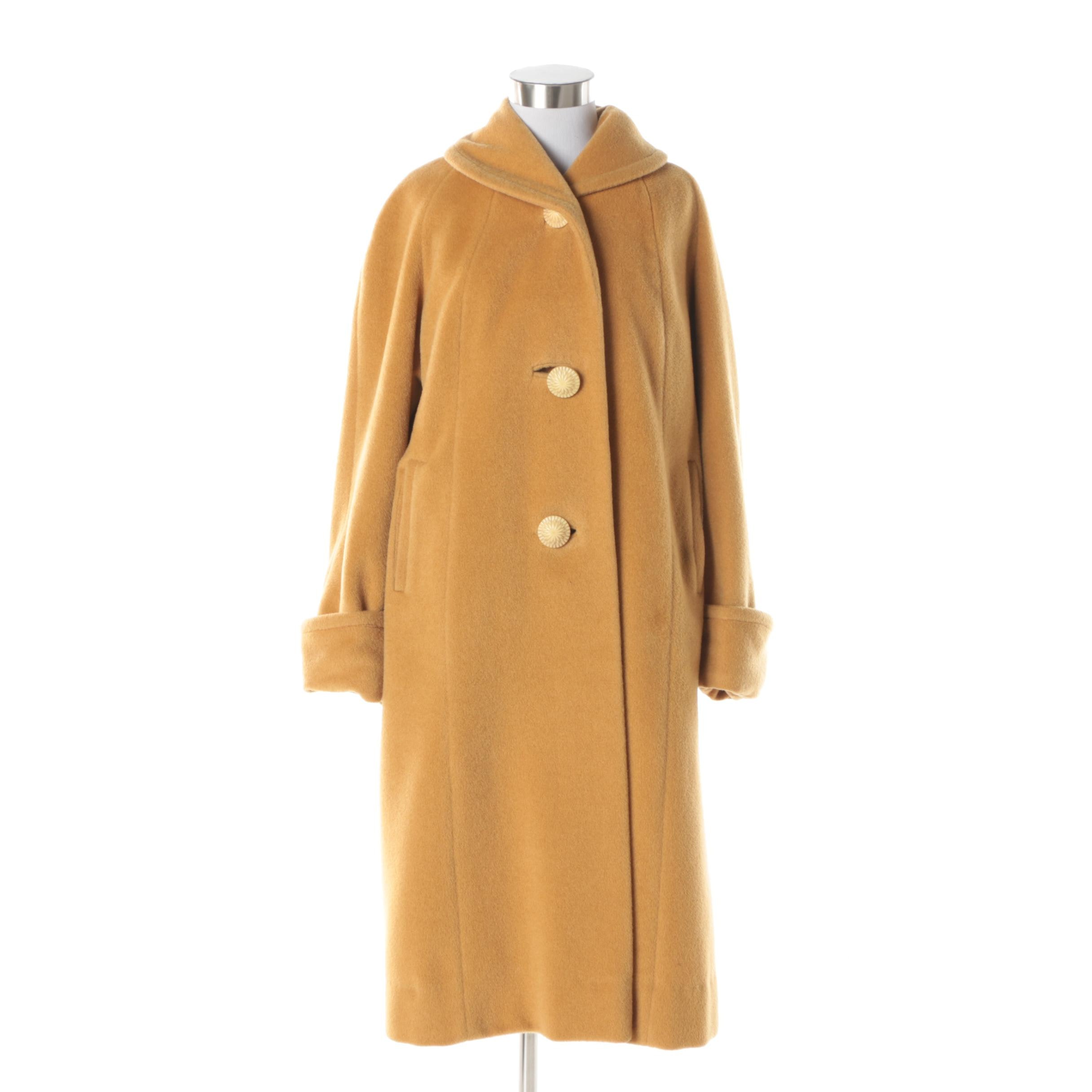 Women's Circa 1950s Vintage Worumbo Mark J. Mustard Yellow Wool Coat