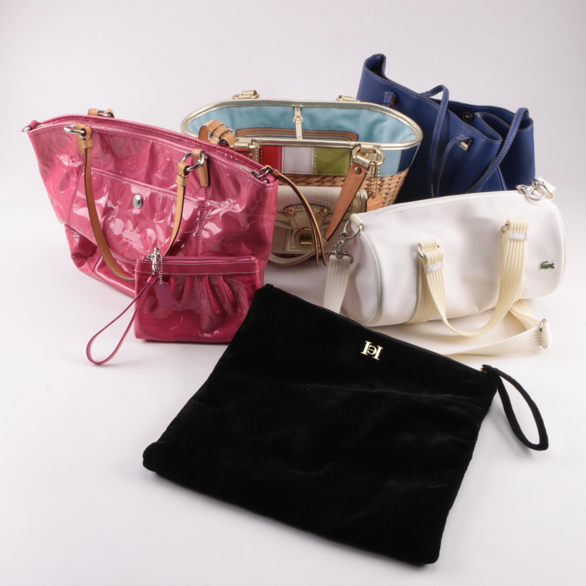 Coach Basket and Leah Patent Leather Totes with Others Including Lacoste