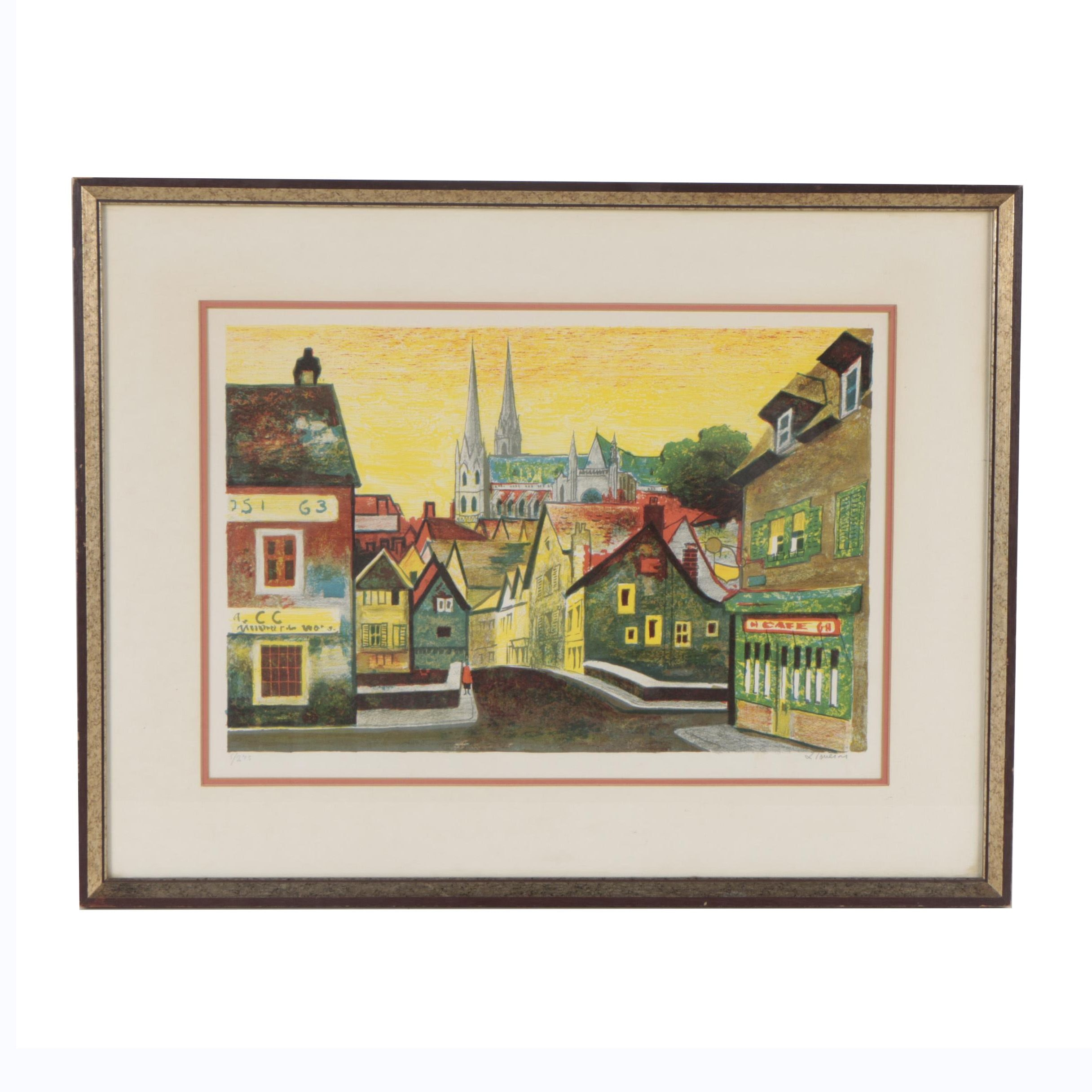 "Federico Lloveras Herreras Colored Lithograph ""Paris Morning"""