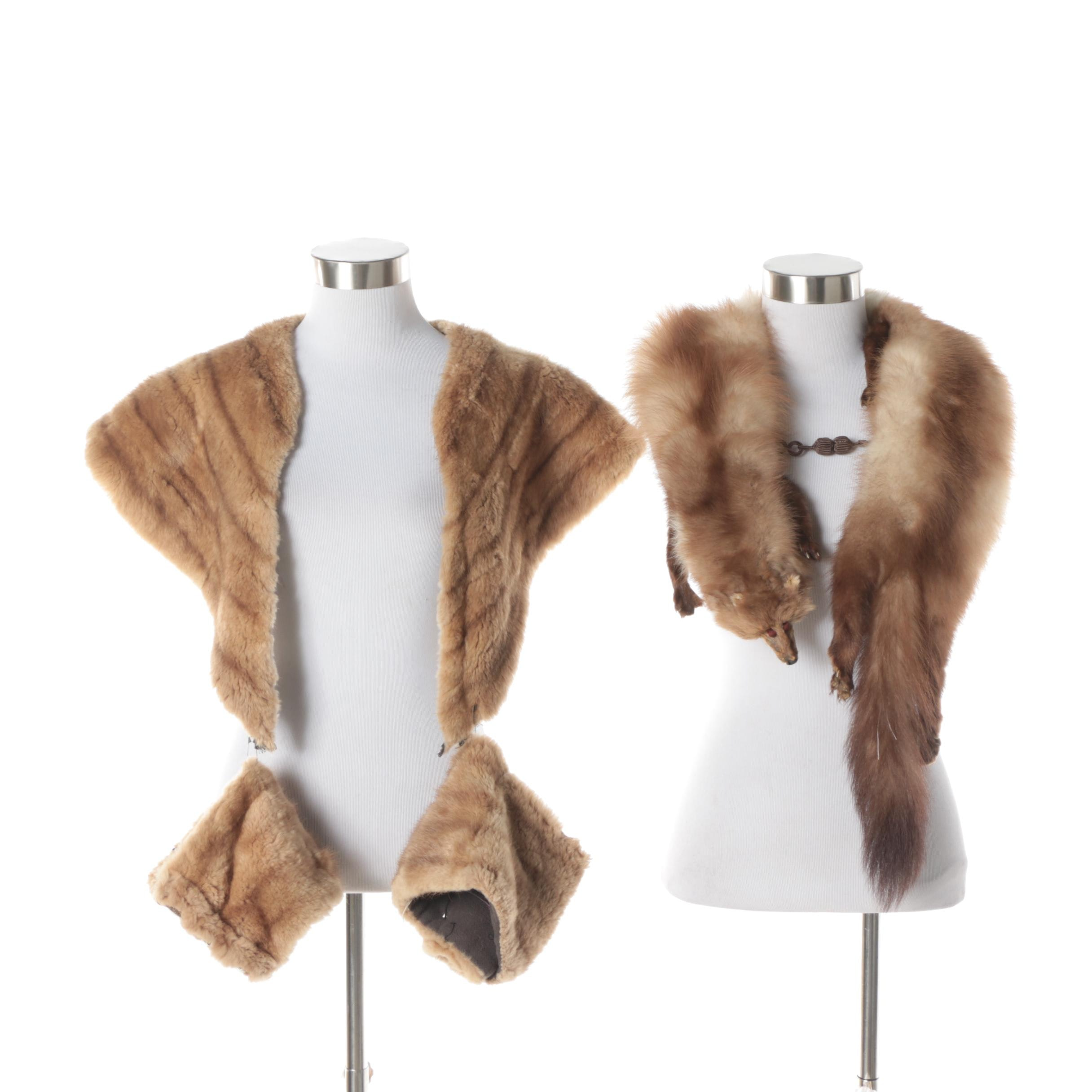 Mink Fur Collar and Cuffs with Stone Marten Fur Stole
