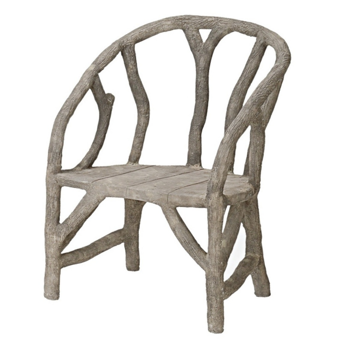 Currey & Company Faux Bois Cement Arbor Chair