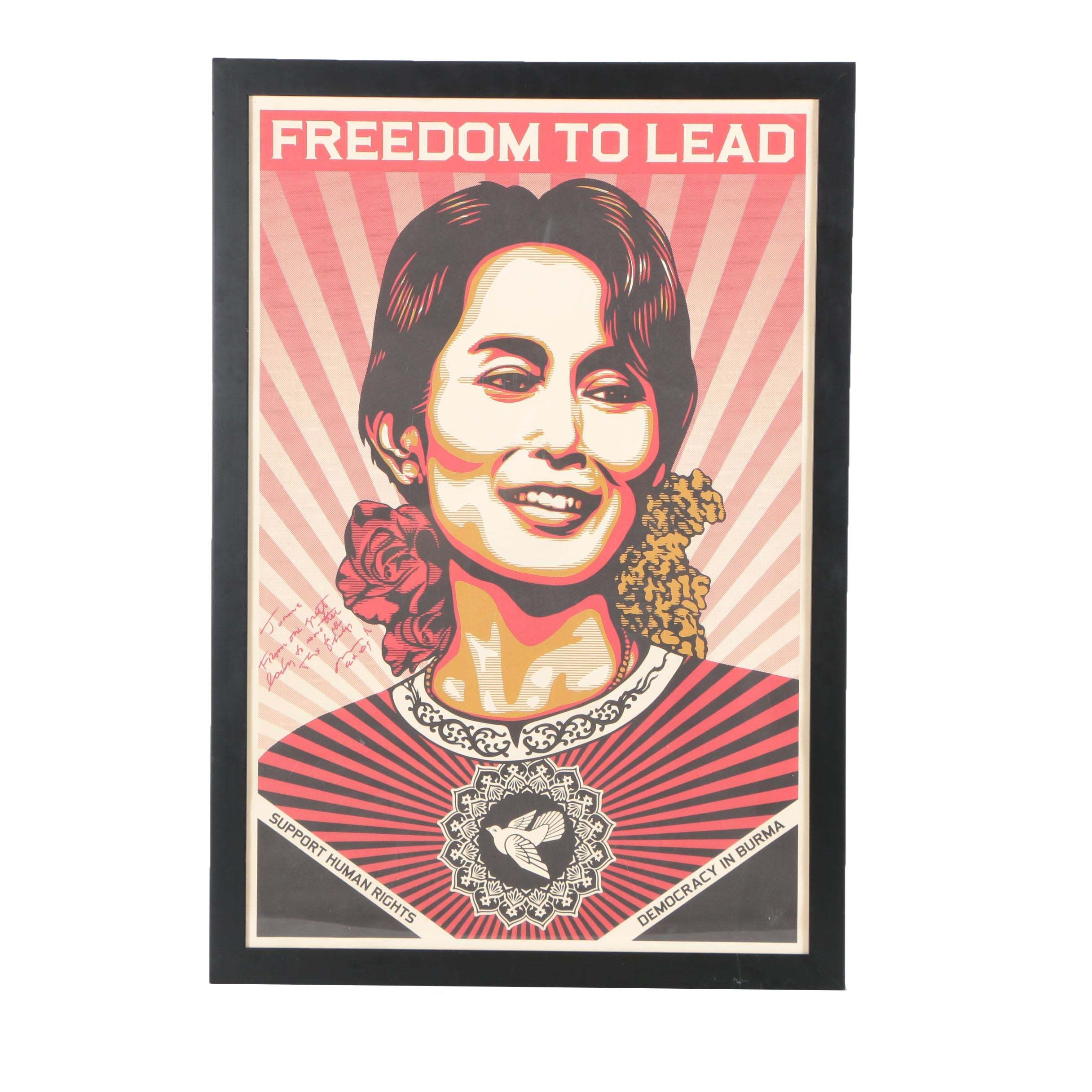"Shepard Fairey Offset Print ""Freedom to Lead"""