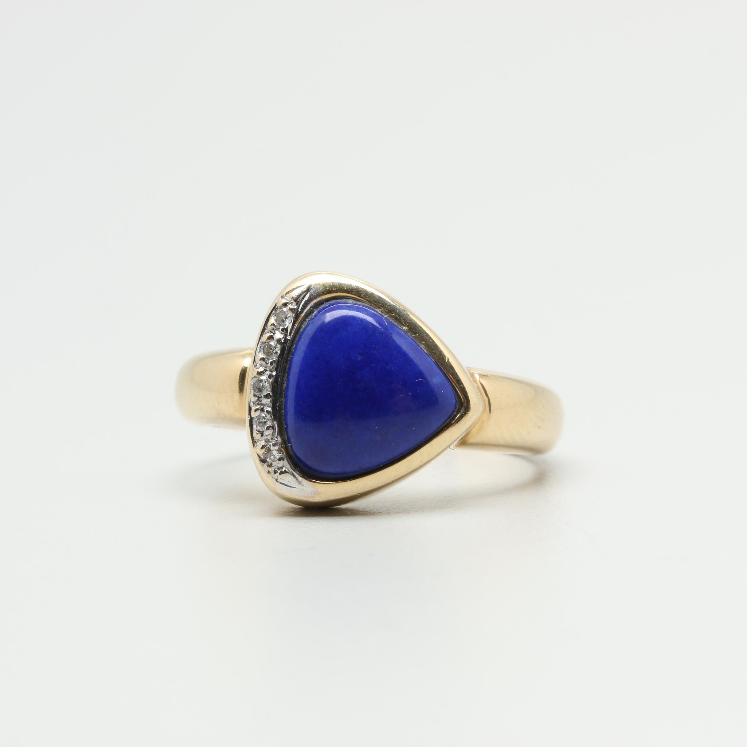 14K Yellow Gold Lapis Lazuli and Diamond Ring