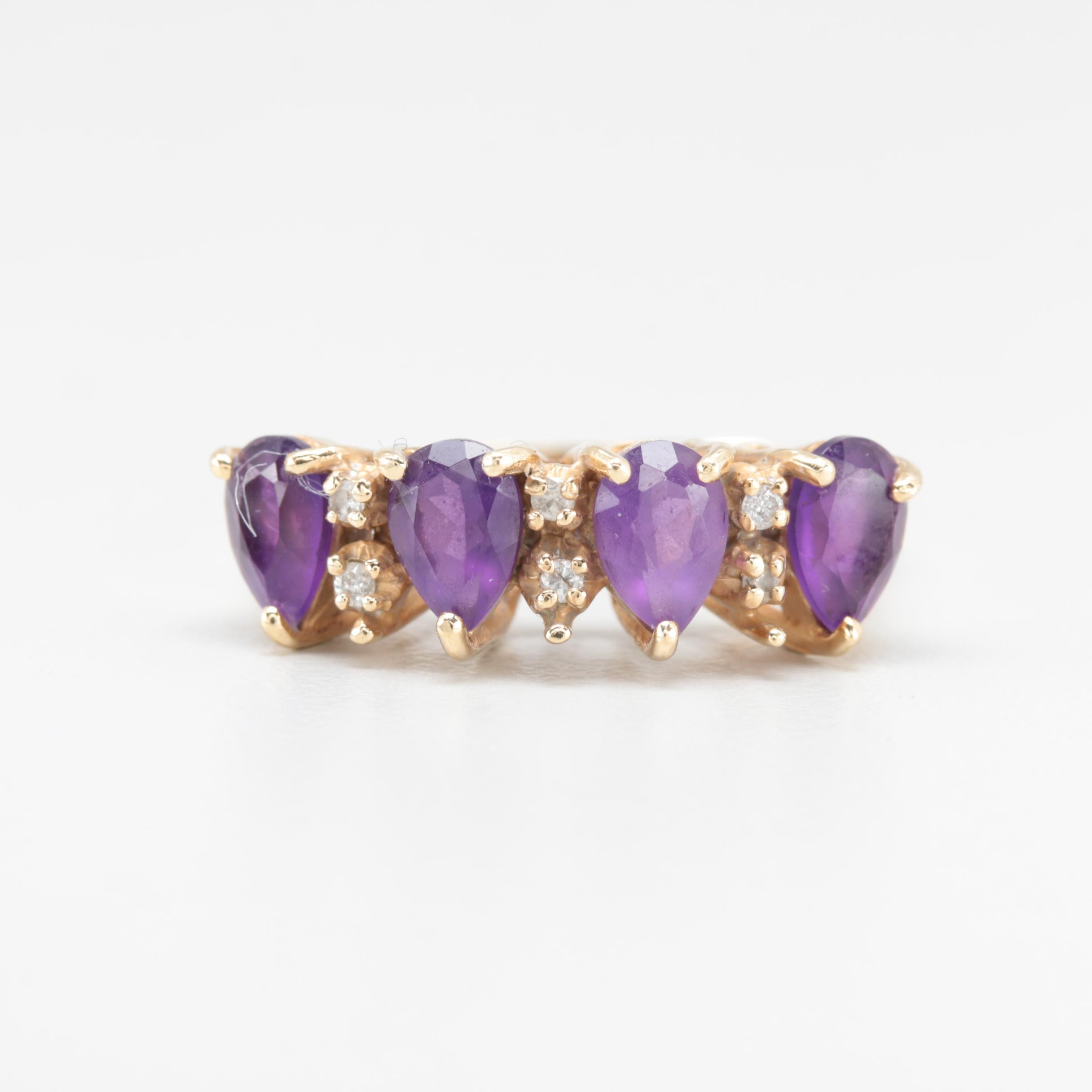 10K and 14K Yellow Gold Amethyst and Diamond Ring