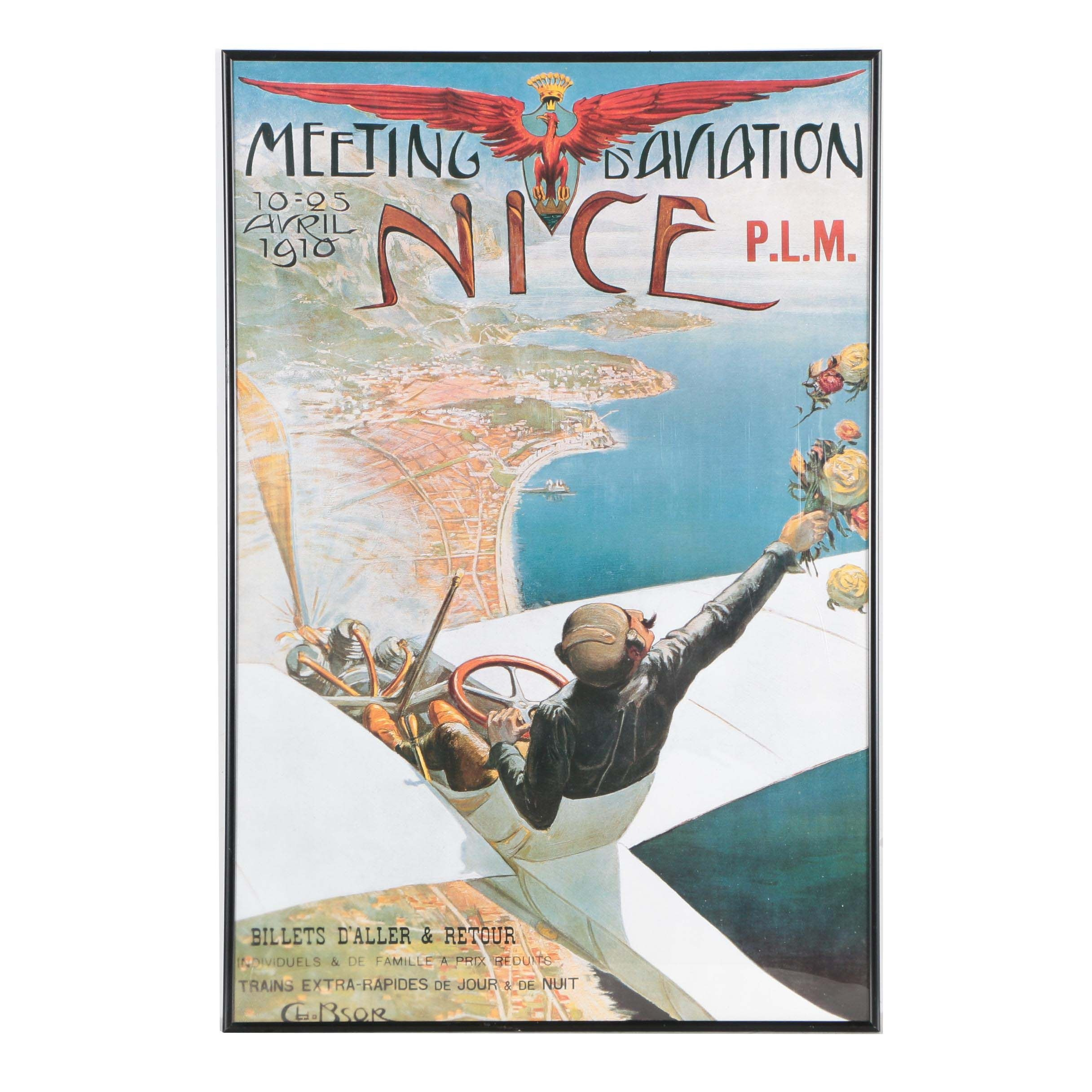 "Travel Poster ""Meeting D'Aviation Nice"" after Charles Leonce Brosse"